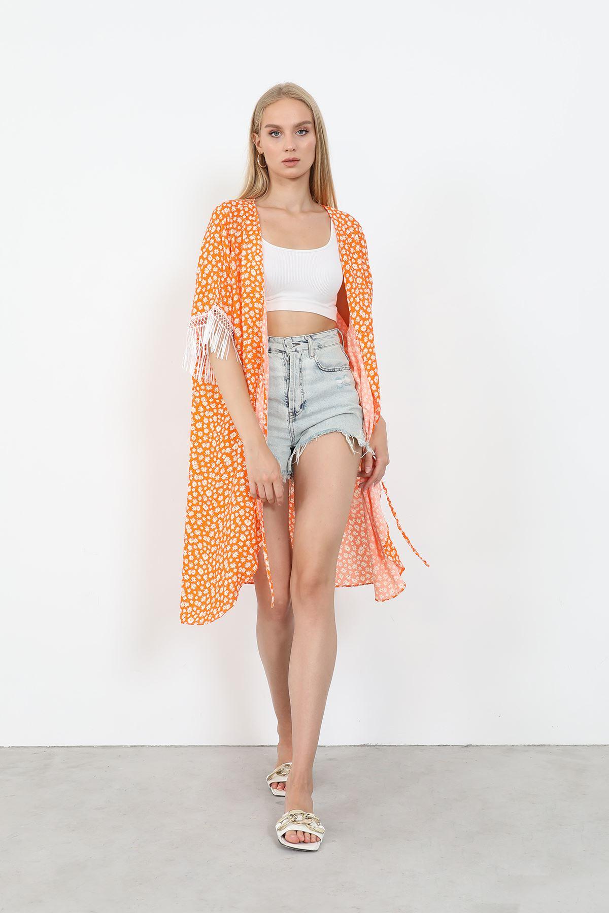 Püsküllü Kimono-Oranj