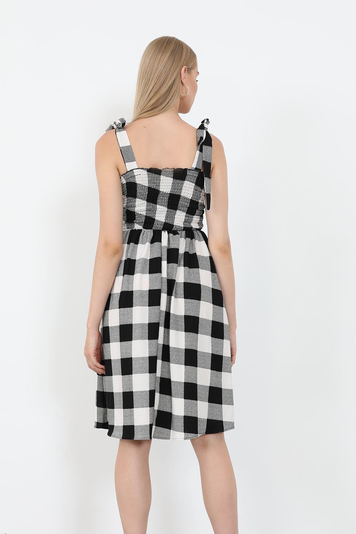 Ekose Gipeli Elbise-Siyah