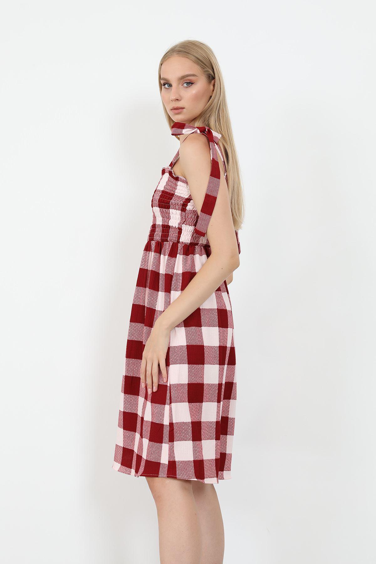 Ekose Gipeli Elbise-Bordo