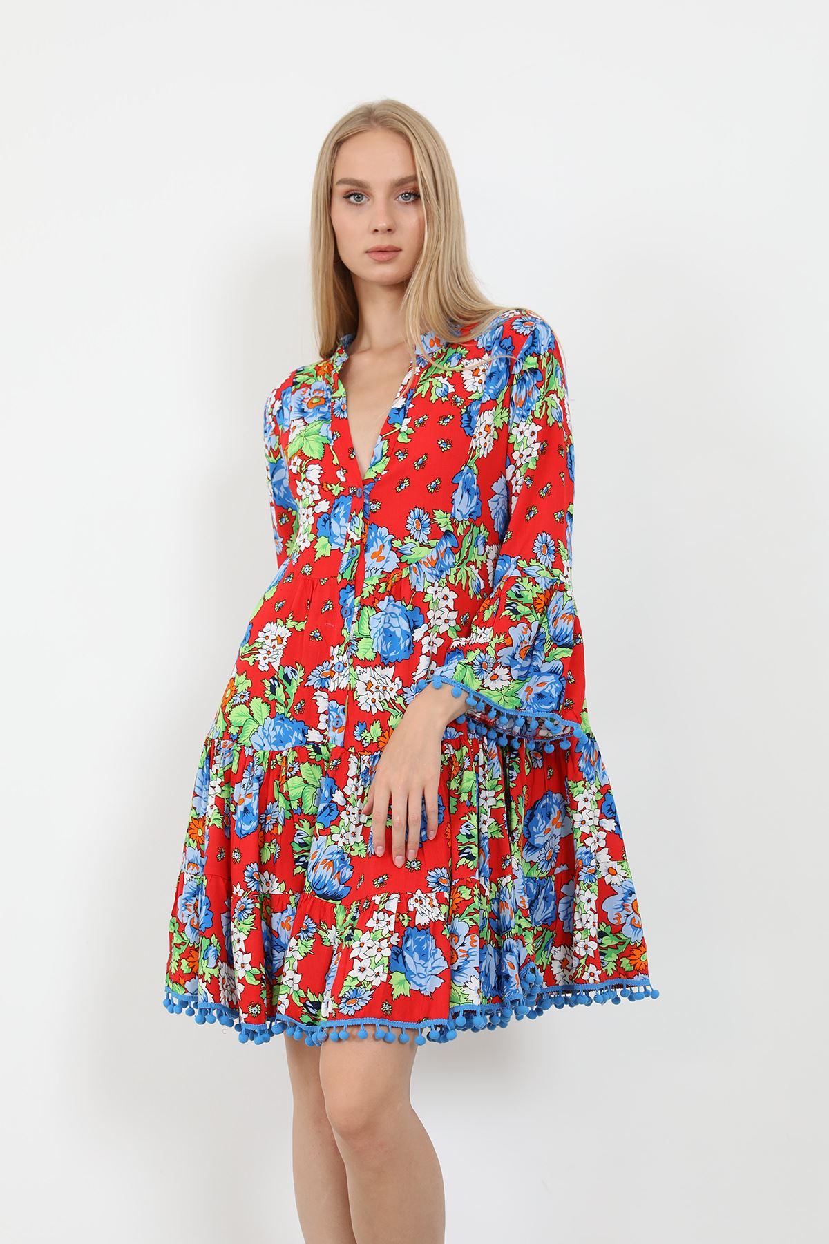Desenli Elbise-Mavi