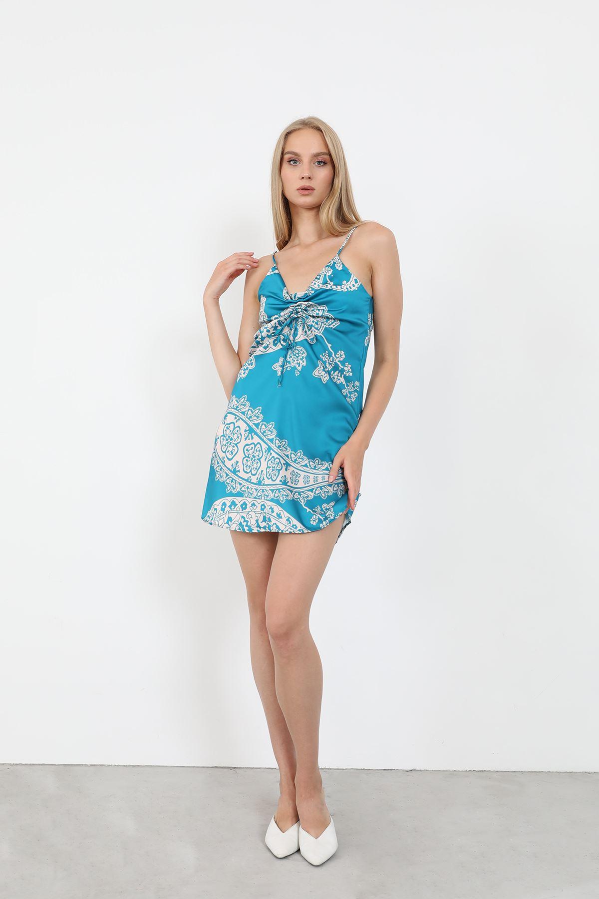 Desenli Saten Elbise-Turkuaz