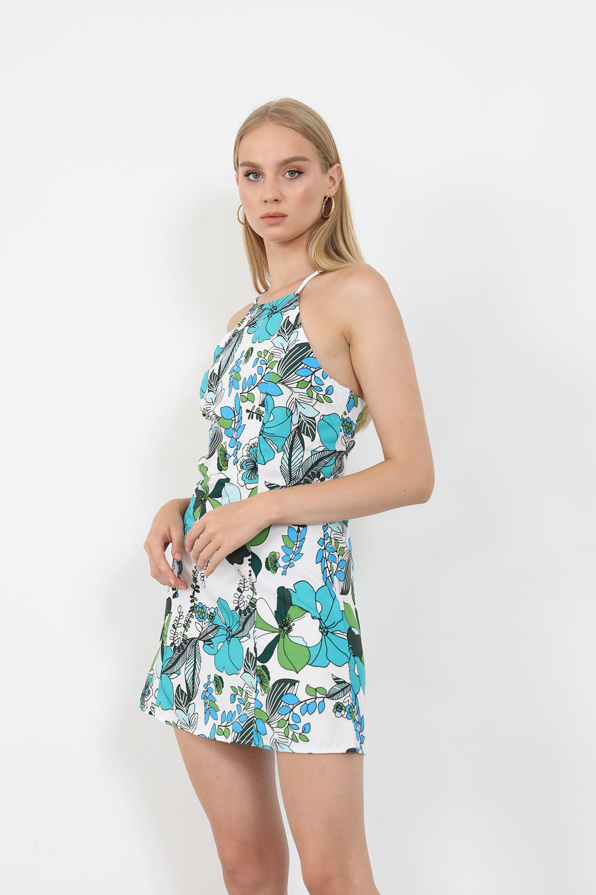 Desenli Askılı Elbise-Mavi