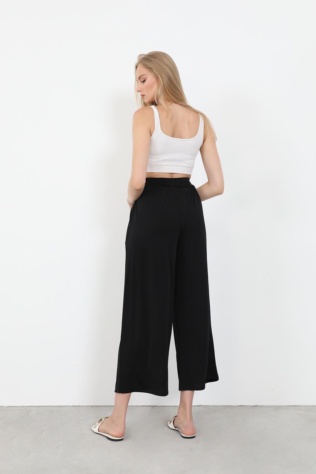 Bağlamalı Pantolon-Siyah