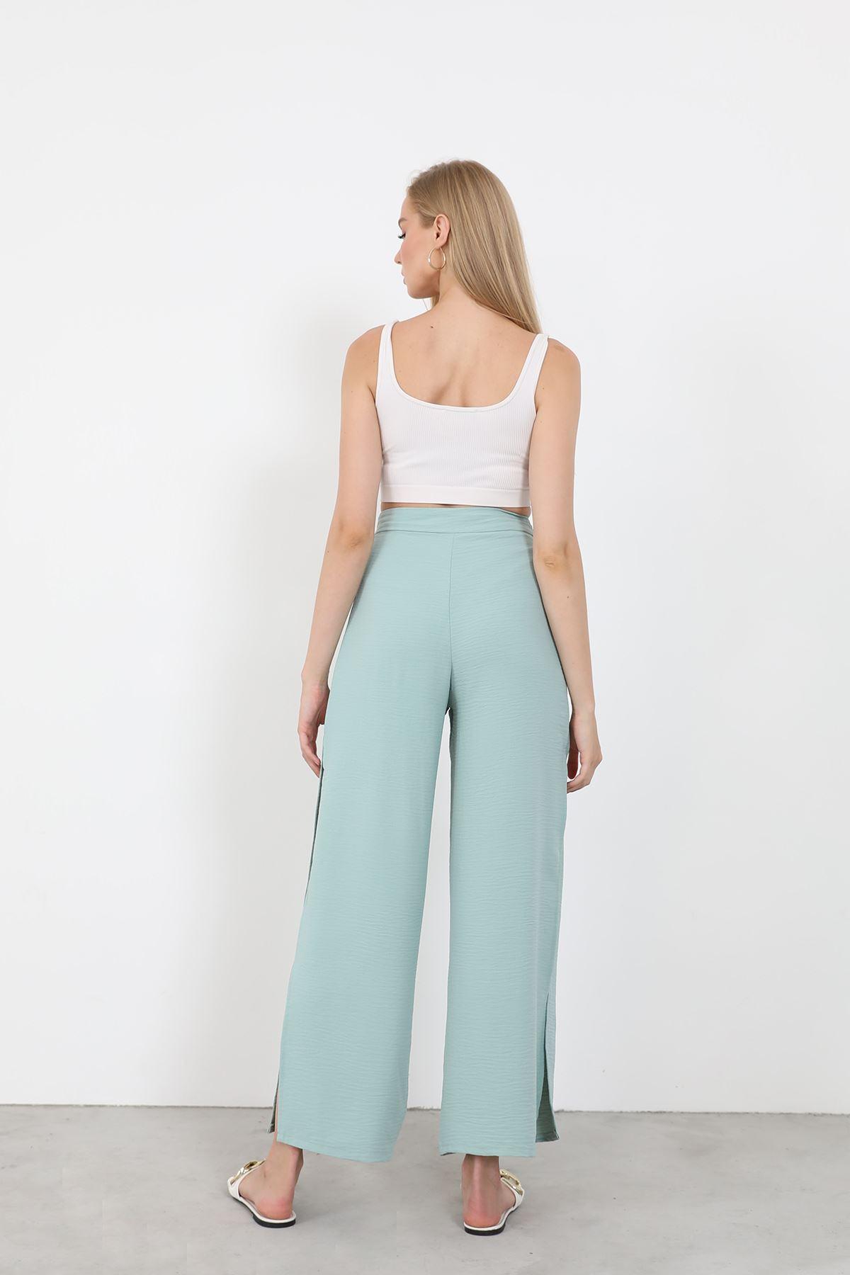Yan Yırtmaçlı Pantolon-Mint