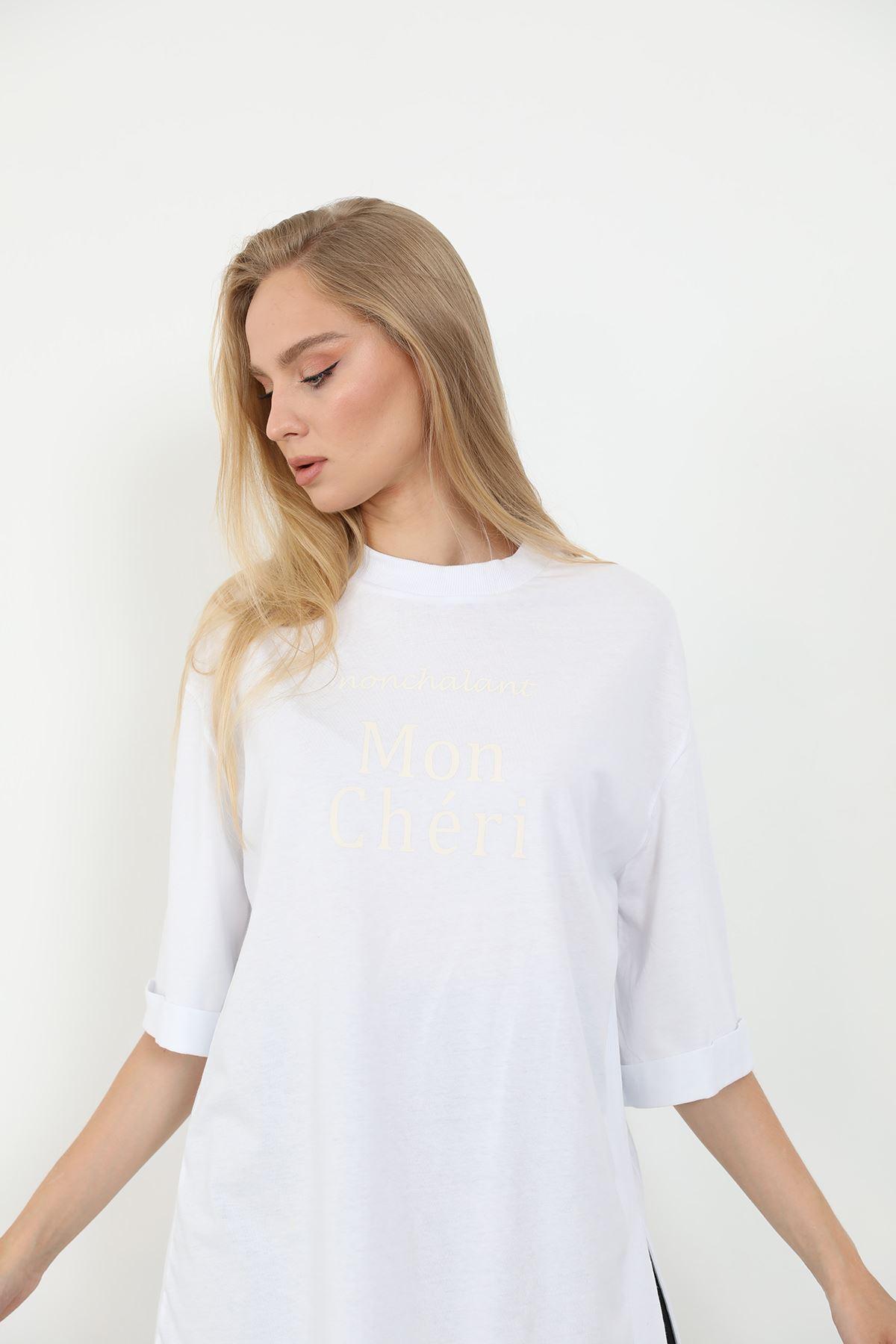 Mon Cheri Baskılı T-shirt-Beyaz