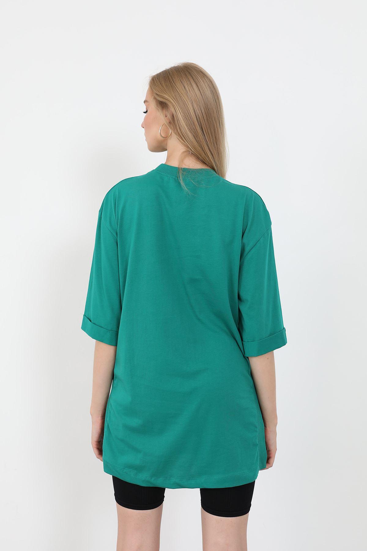 Mon Cheri Baskılı T-shirt-Yeşil