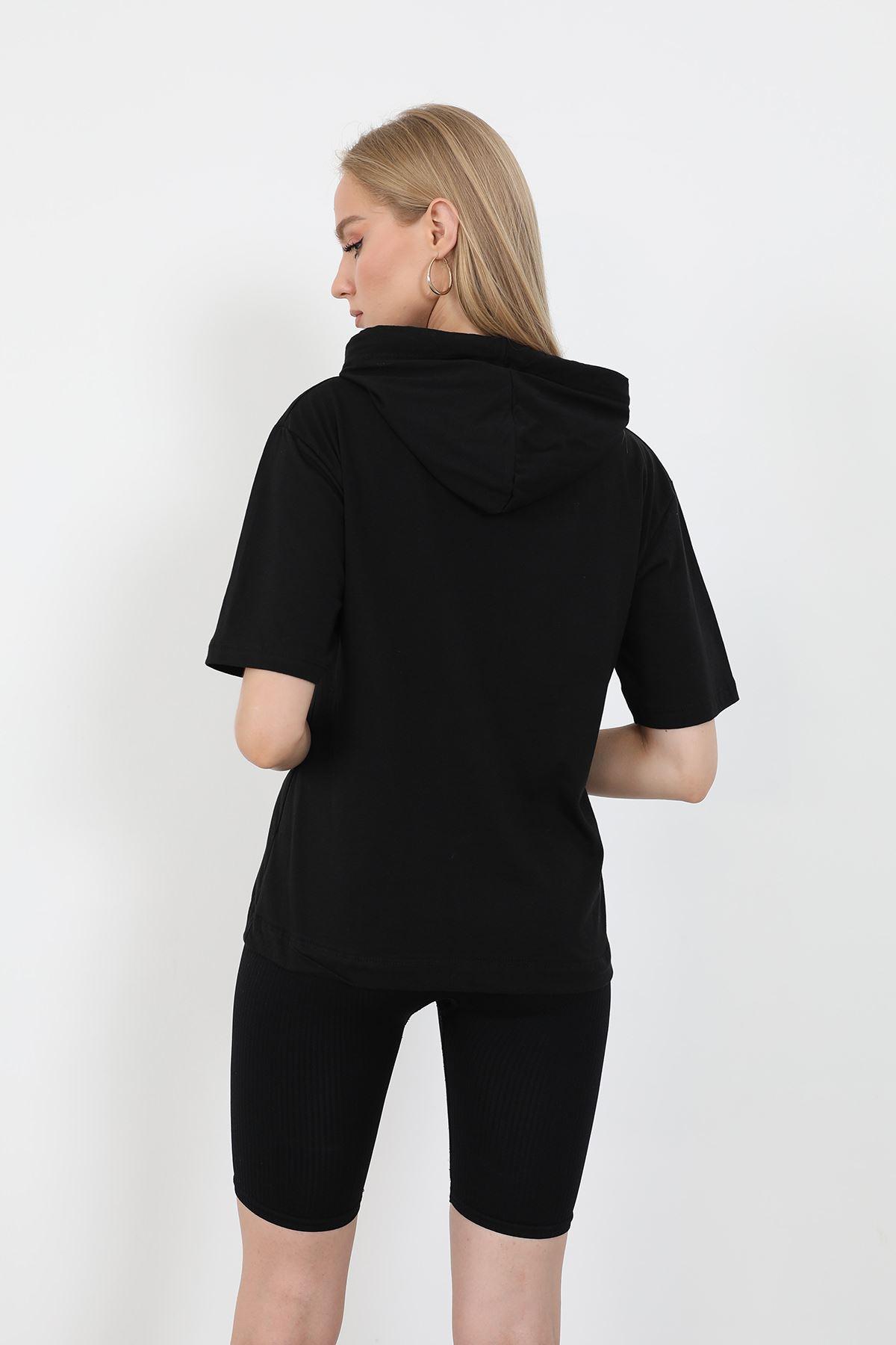 Kapşonlu T-shirt-Siyah