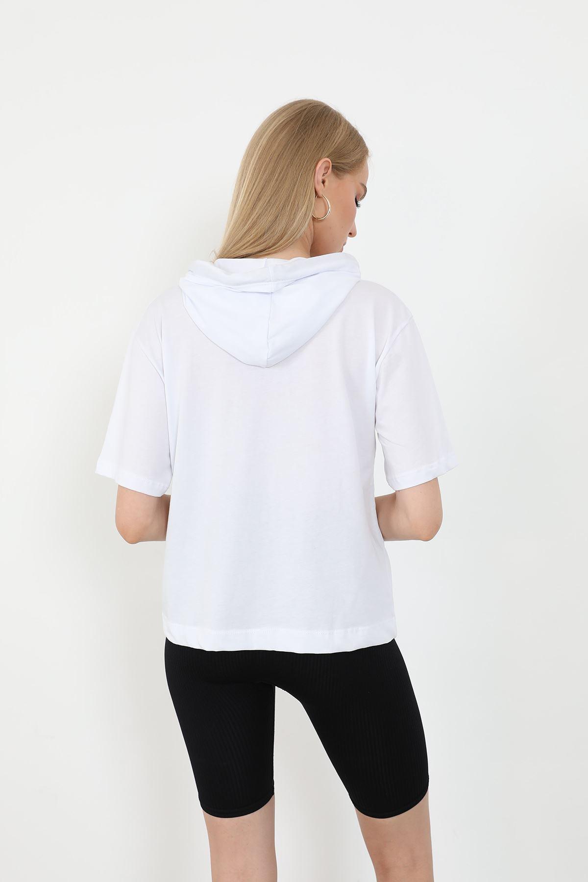 Kapşonlu T-shirt-Beyaz