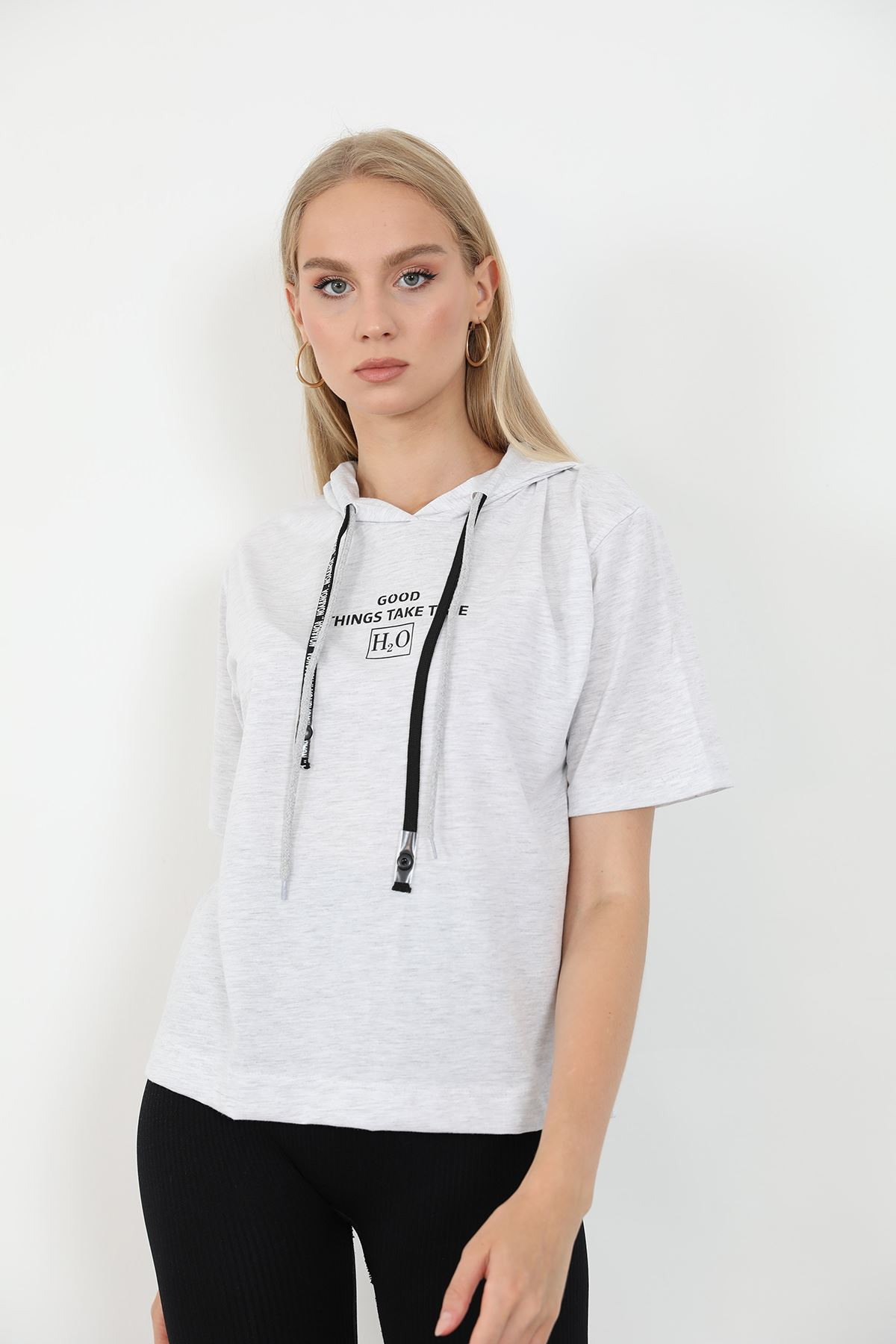 Kapşonlu T-shirt-Gri