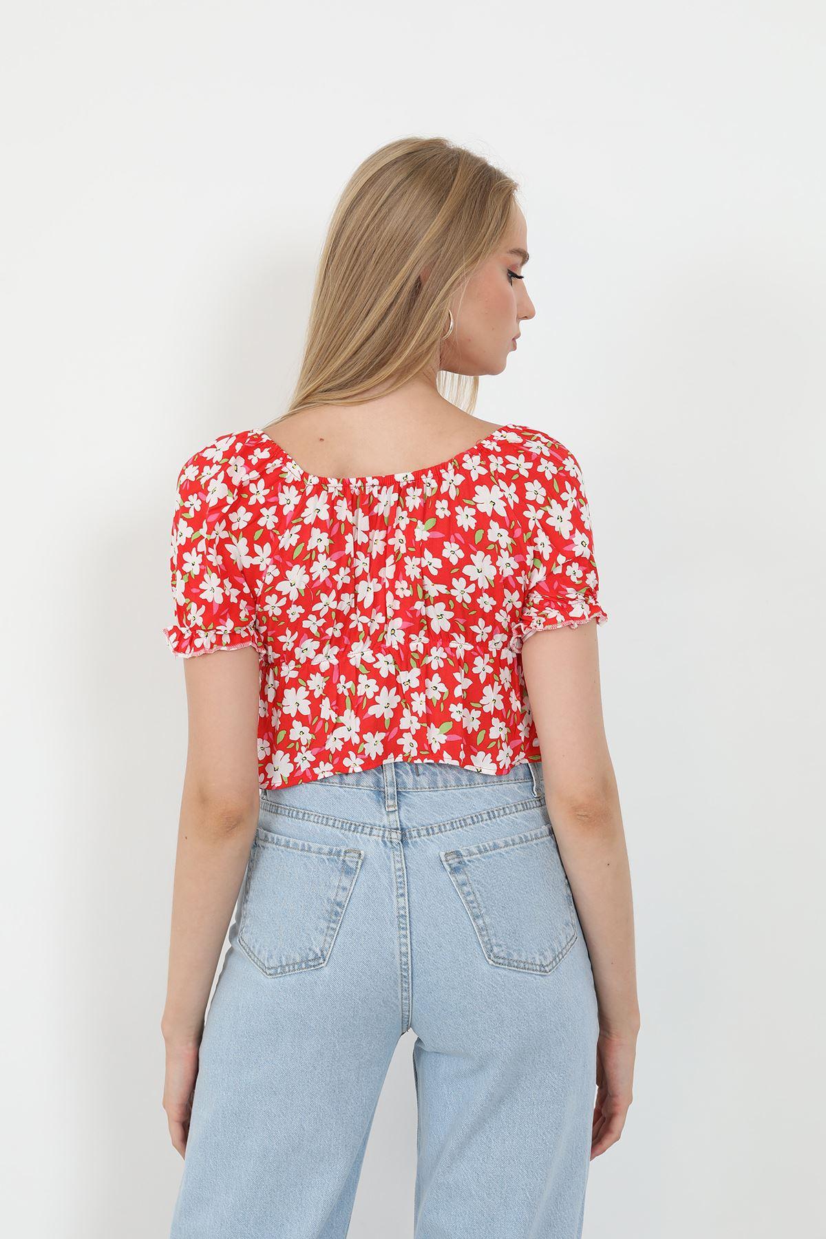 Desenli Bluz-Kırmızı