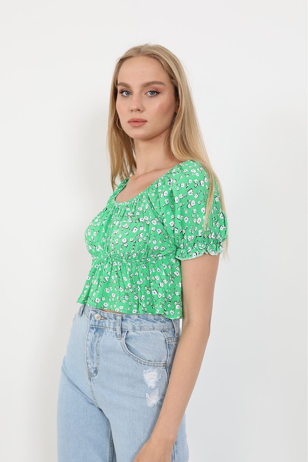 Desenli Bluz-Yeşil