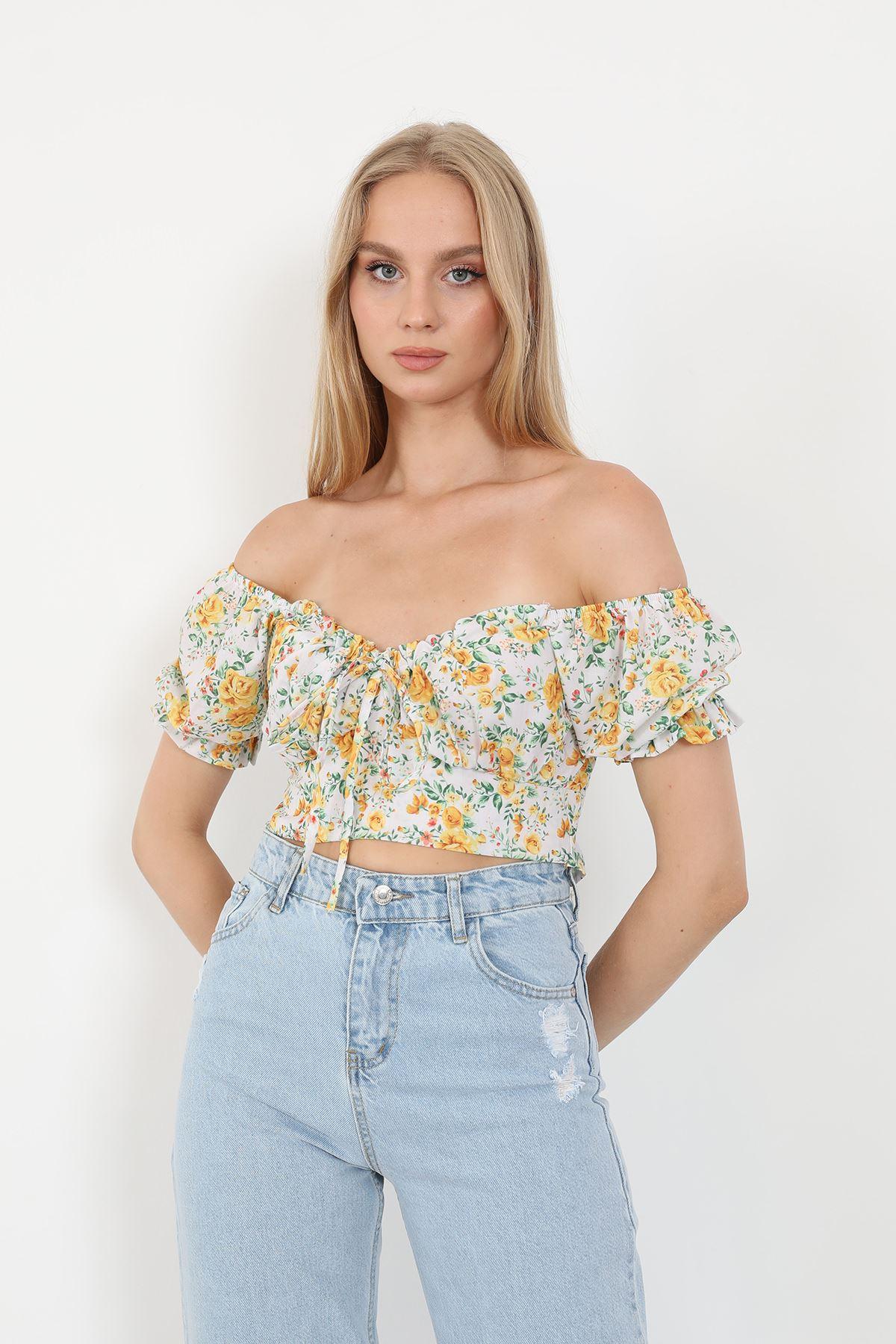 Desenli Bluz-Sarı
