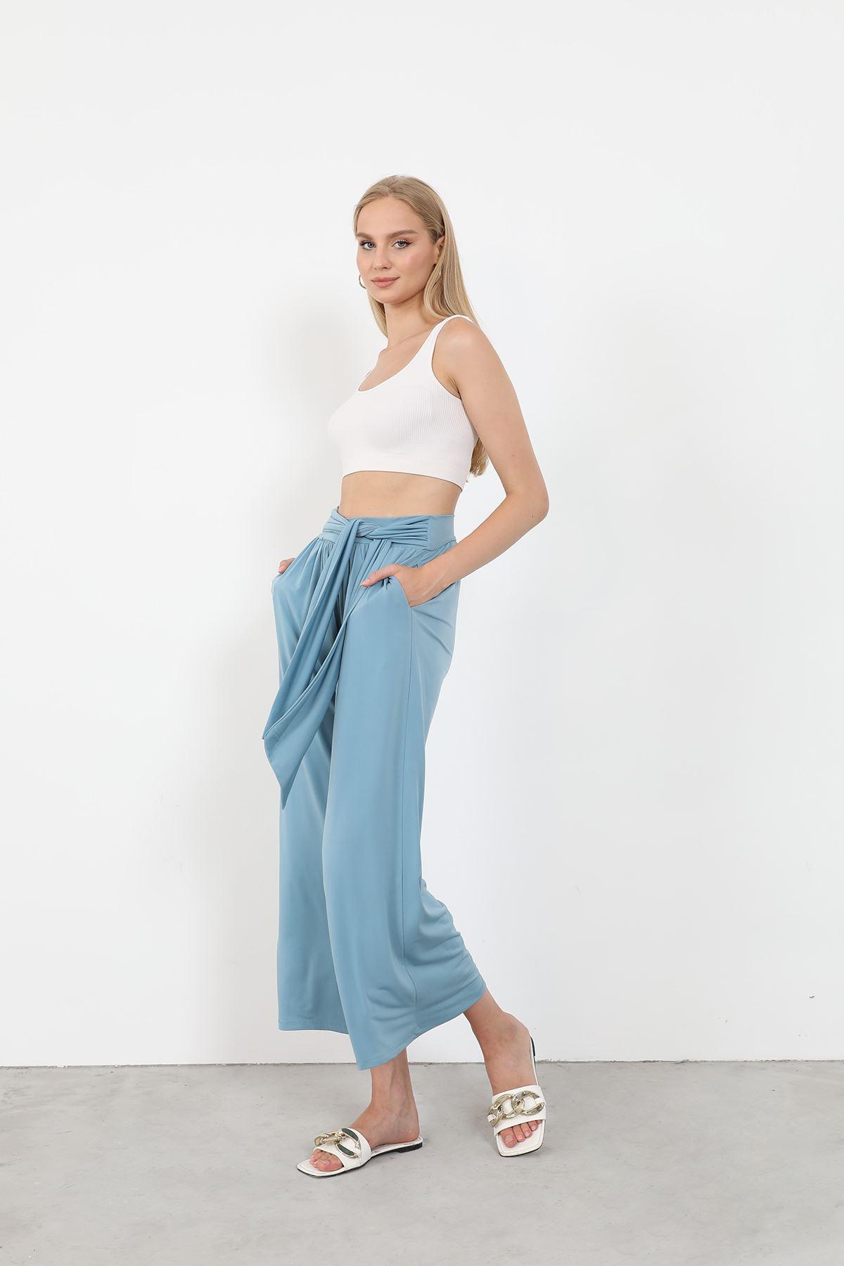 Bağlamalı Pantolon-Mavi