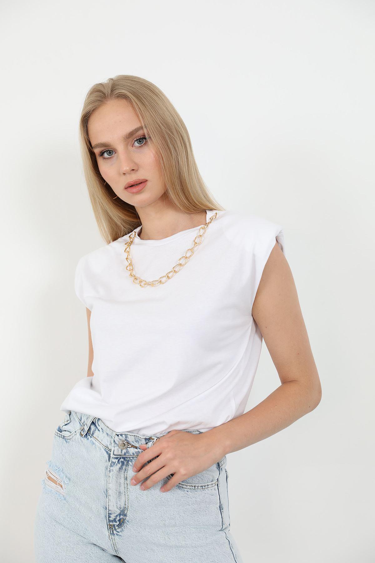 Kolyeli T-shirt-Beyaz