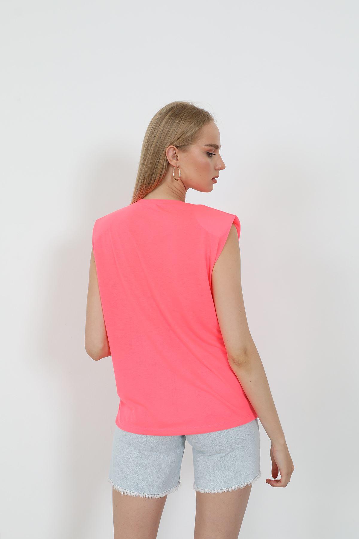 Kolyeli T-shirt-NEON PEMBE