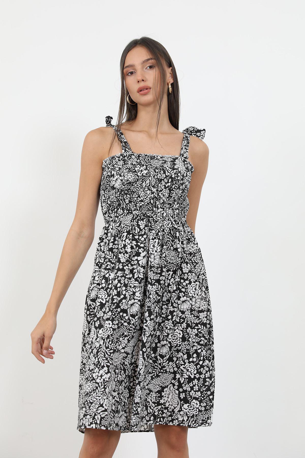 Poplin Gipeli Elbise-Siyah