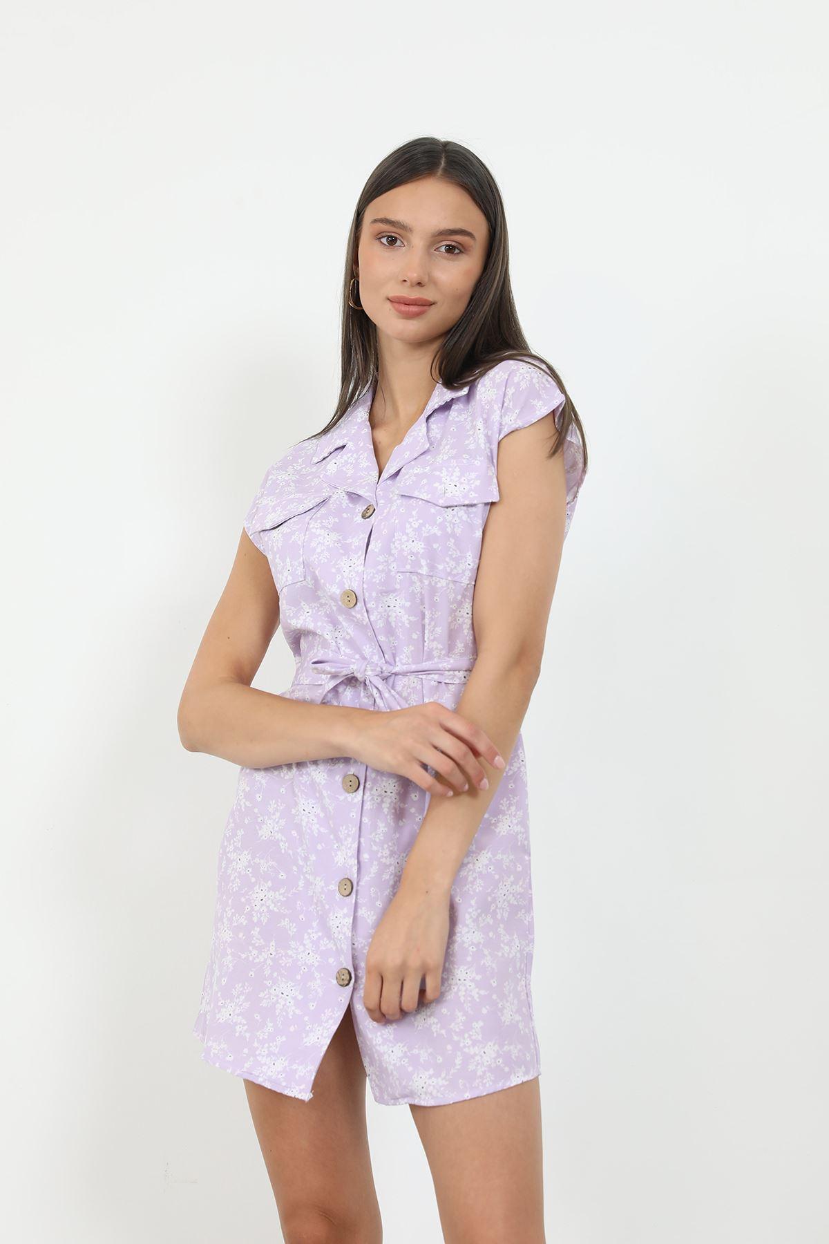 Desenli Gömlek Elbise-Lila