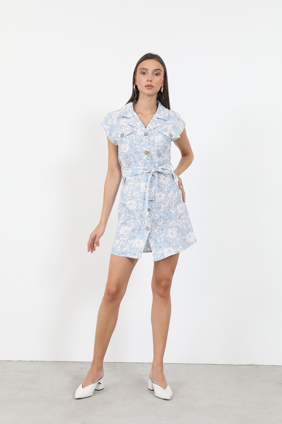 Desenli Gömlek Elbise-Bebemavi