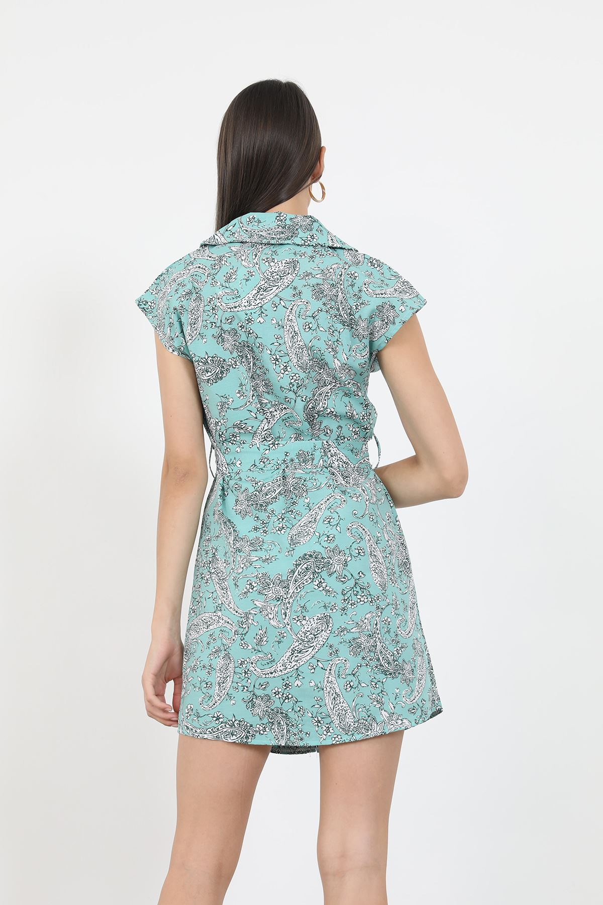 Düğmeli Elbise-Mint