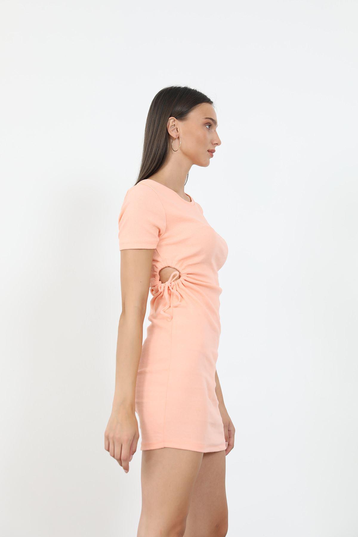 Büzgü Detay Elbise-Somon