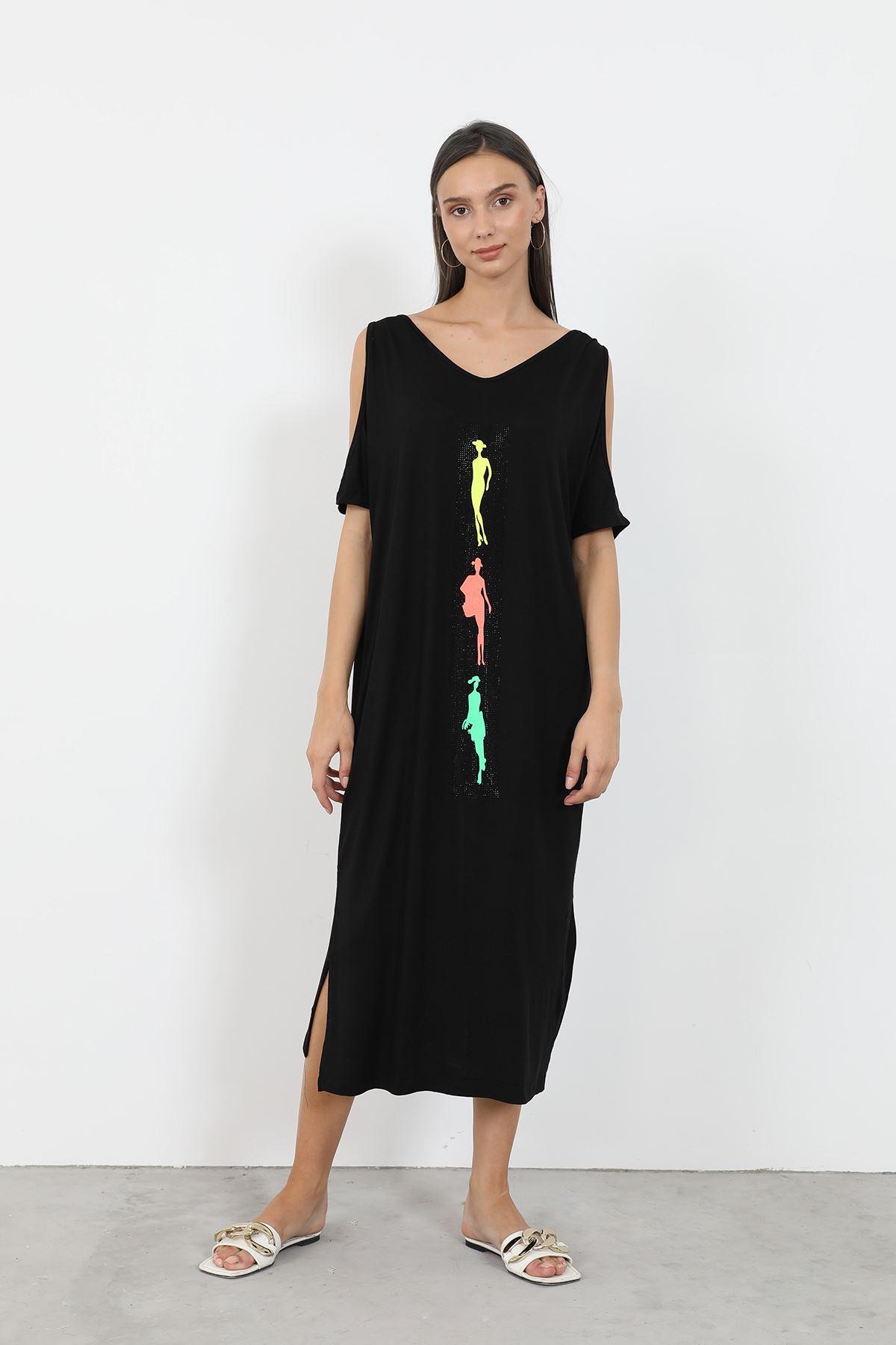 Önü Baskılı Elbise-Siyah