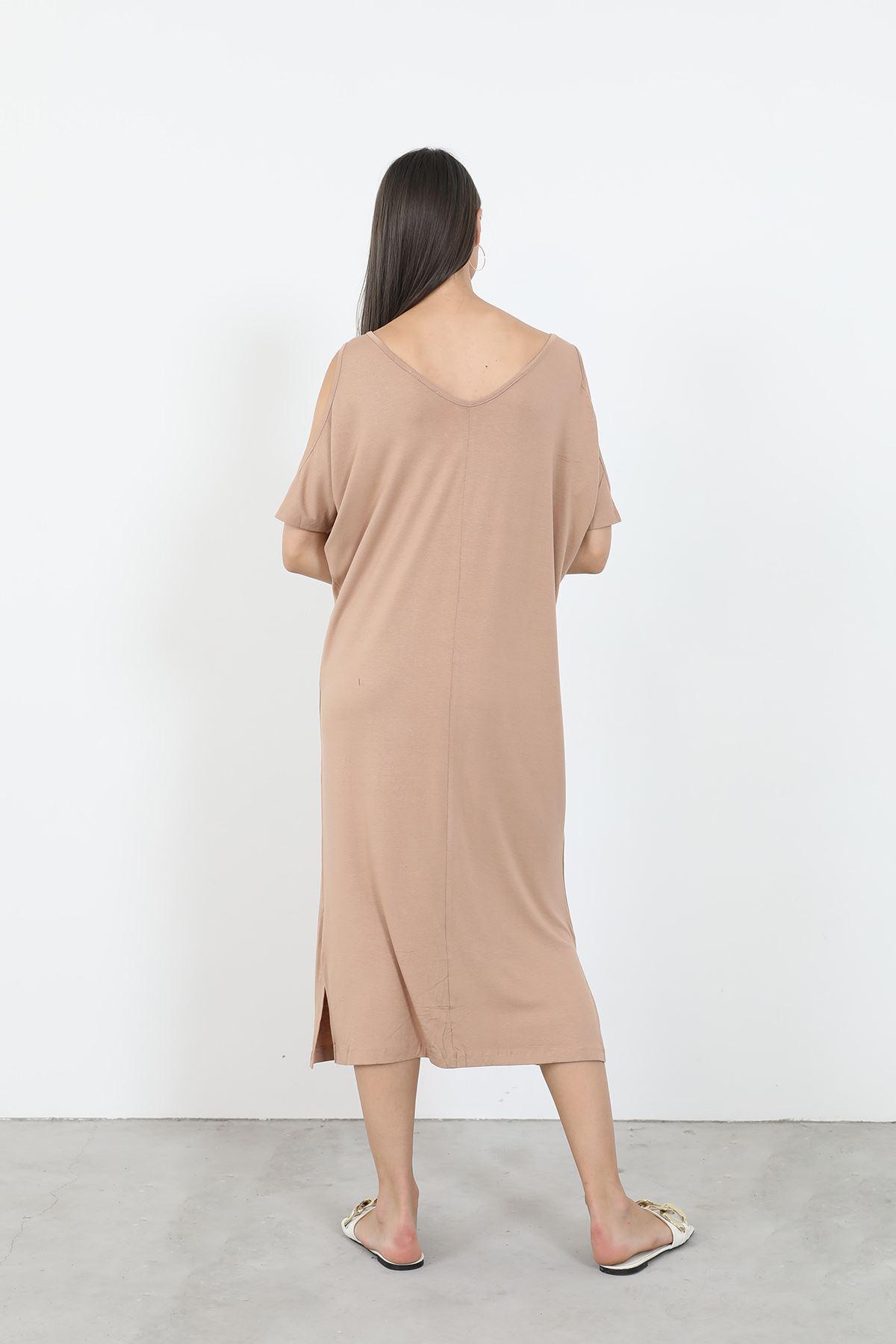 Önü Baskılı Elbise-Taba