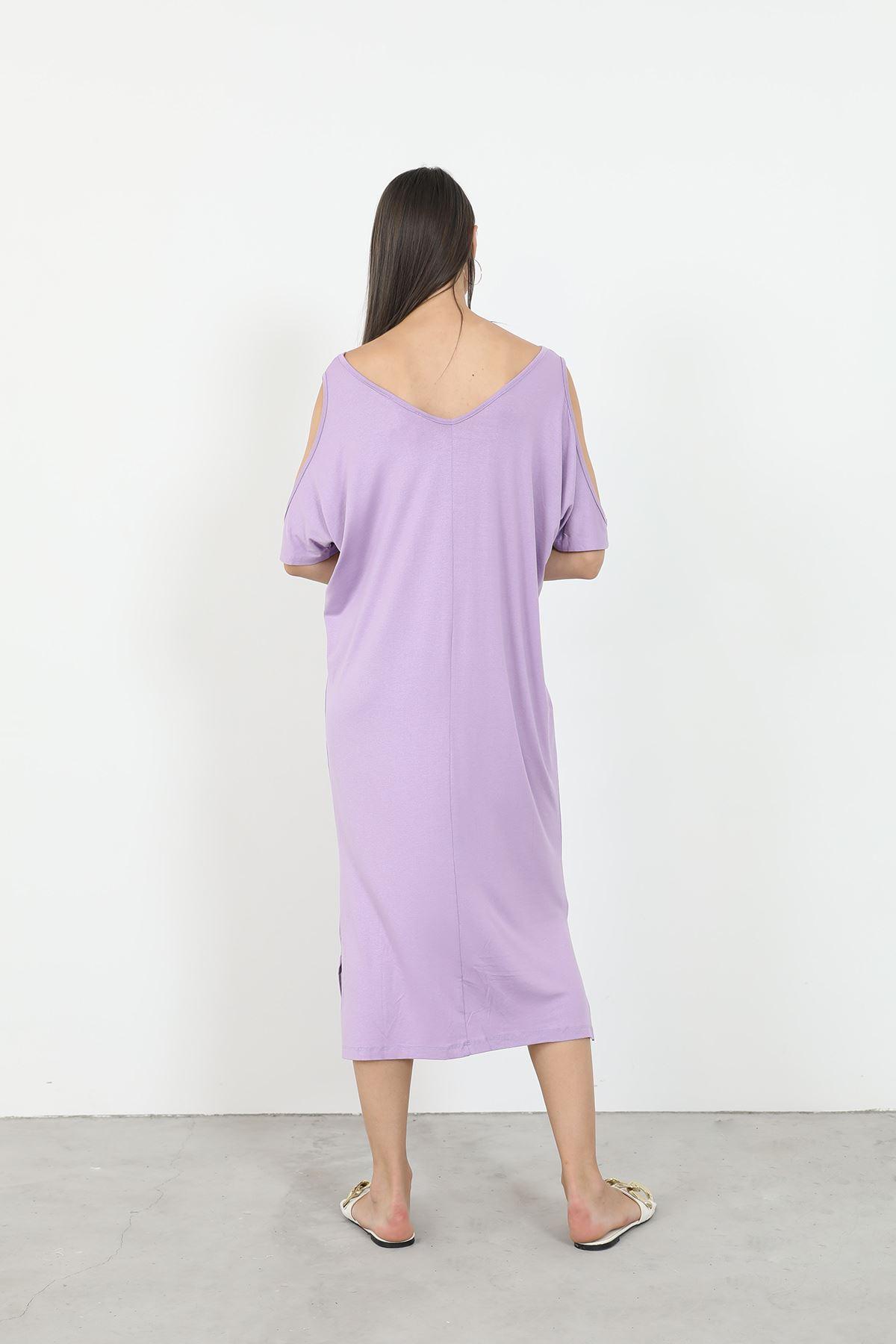 Önü Baskılı Elbise-Lila