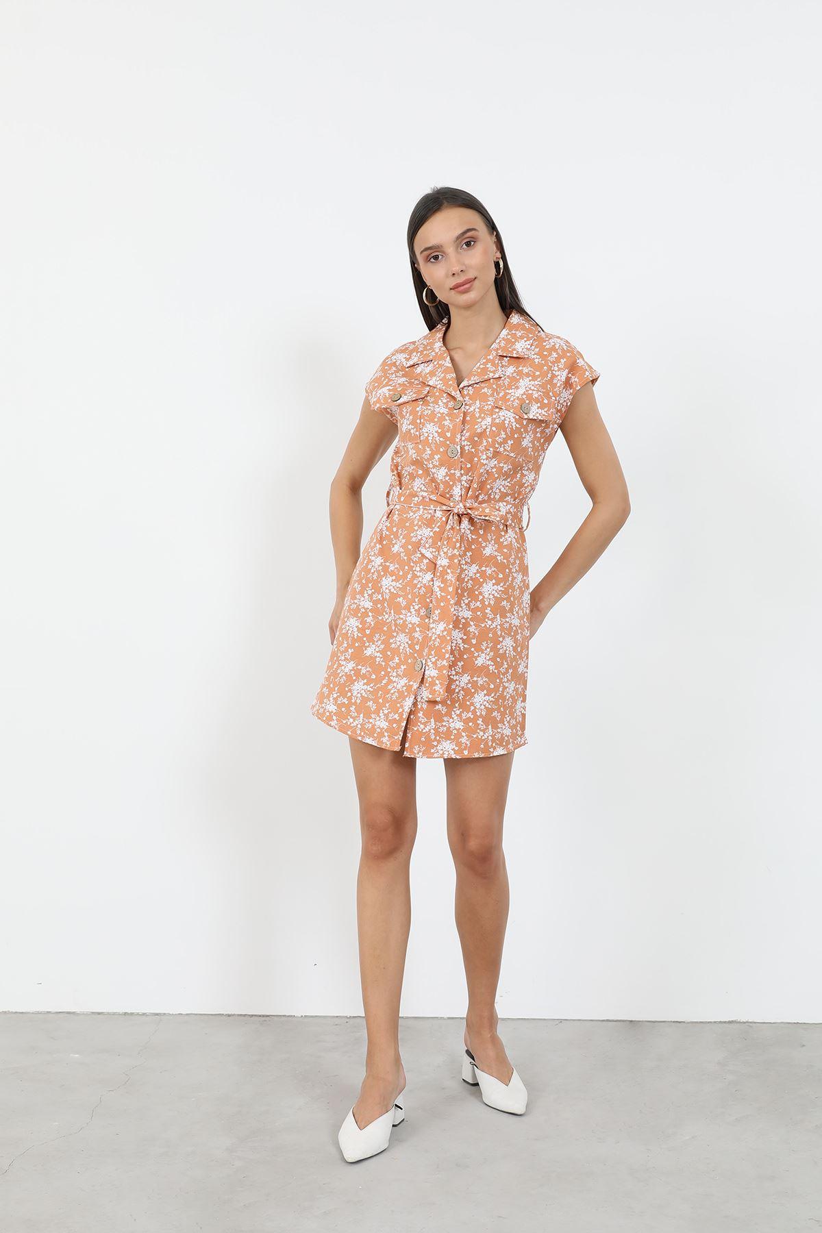 Desenli Gömlek Elbise-Kiremit