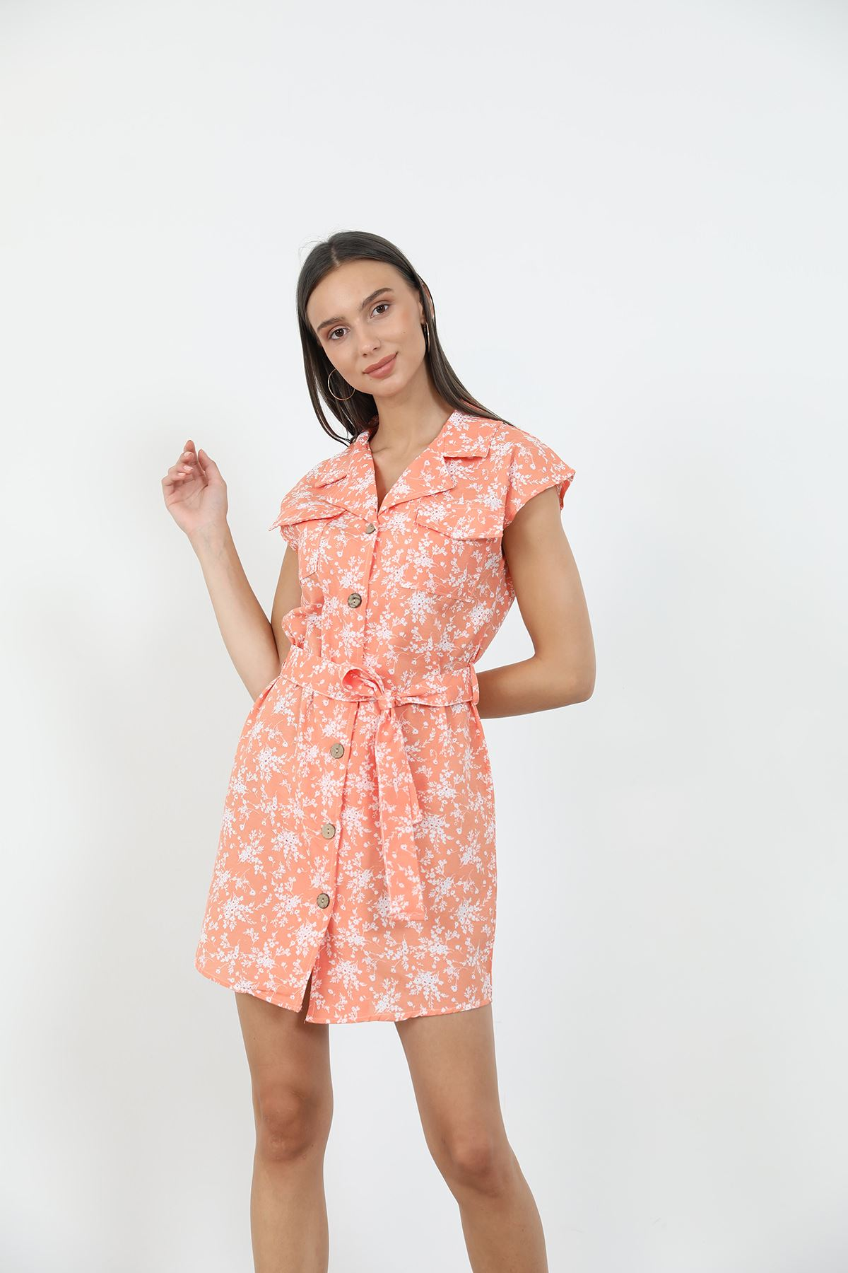 Desenli Gömlek Elbise-Oranj
