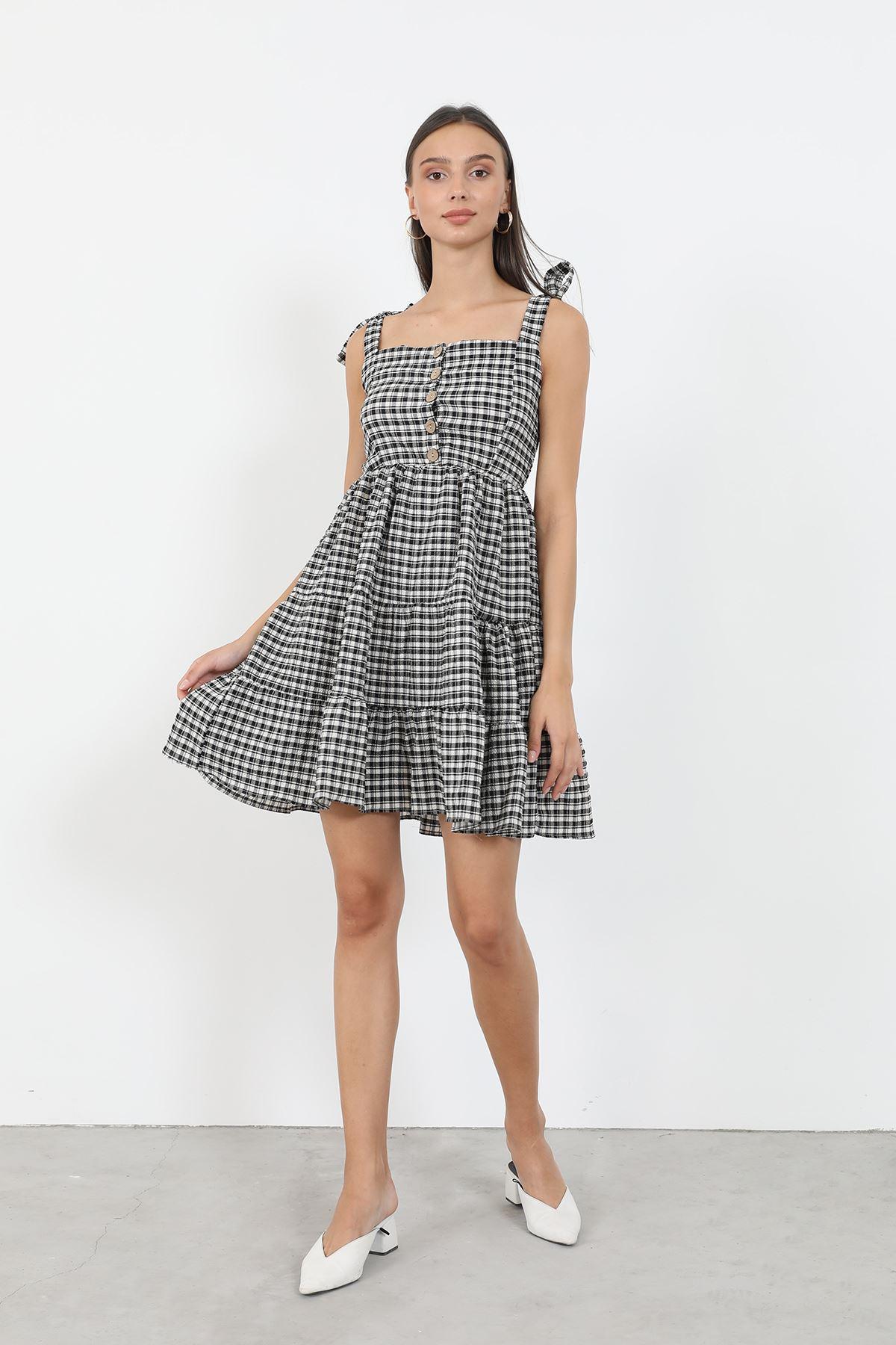 Ekose Düğmeli Elbise-Siyah