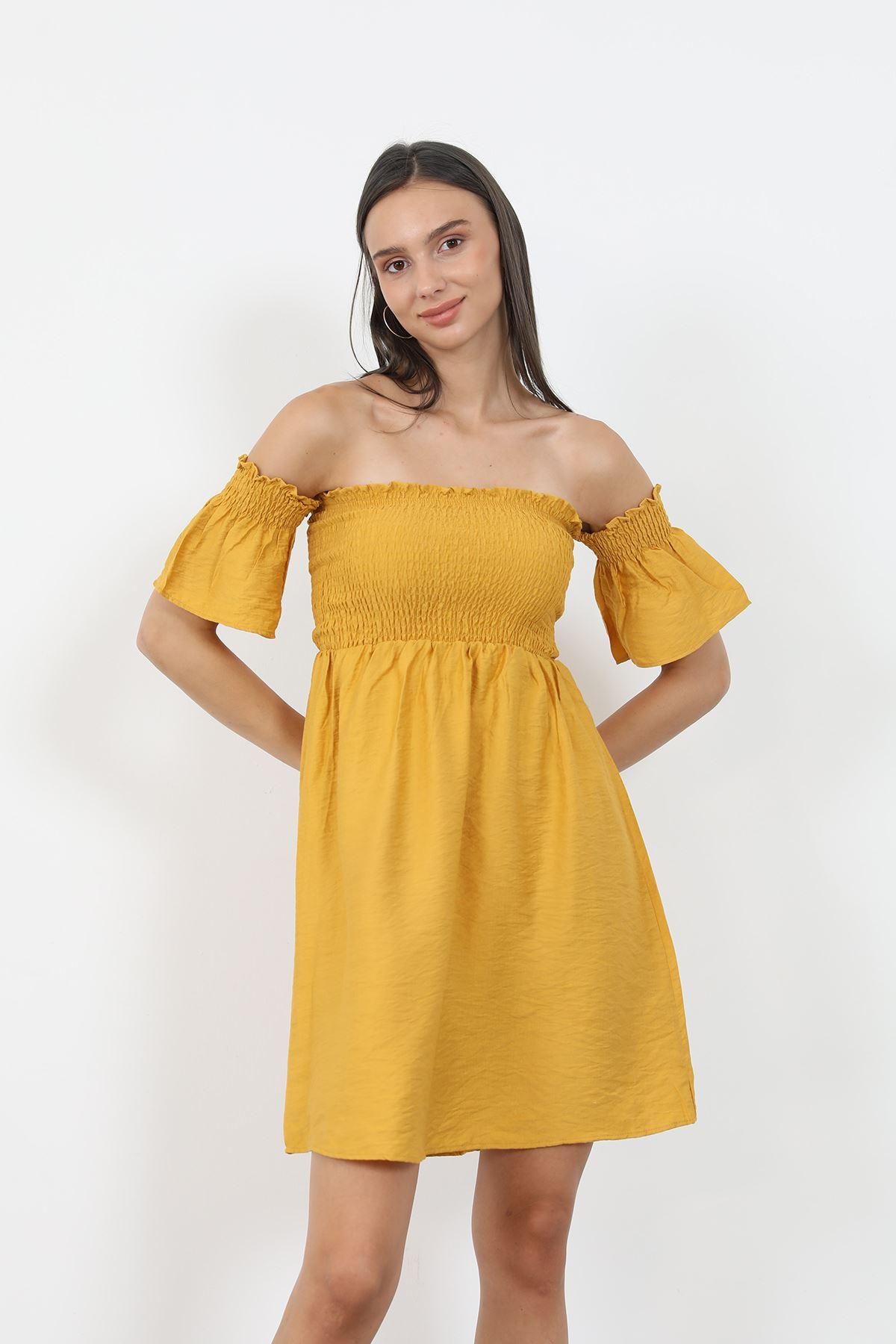 Keten Gipeli Elbise-Hardal