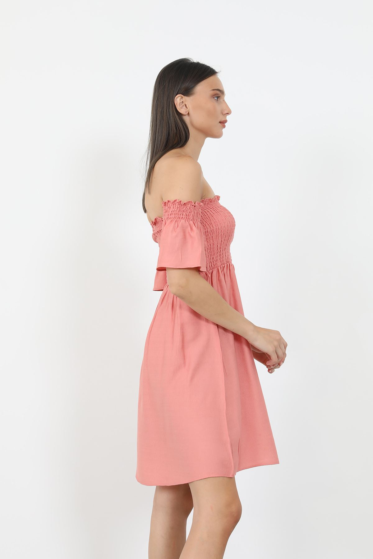 Keten Gipeli Elbise-Pudra