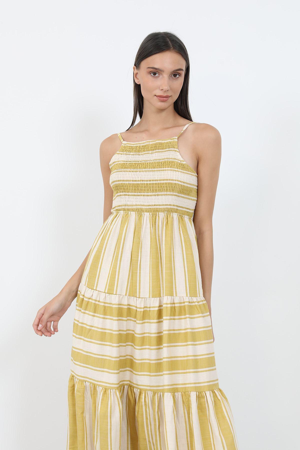 Çizgili Gipeli Elbise-Sarı