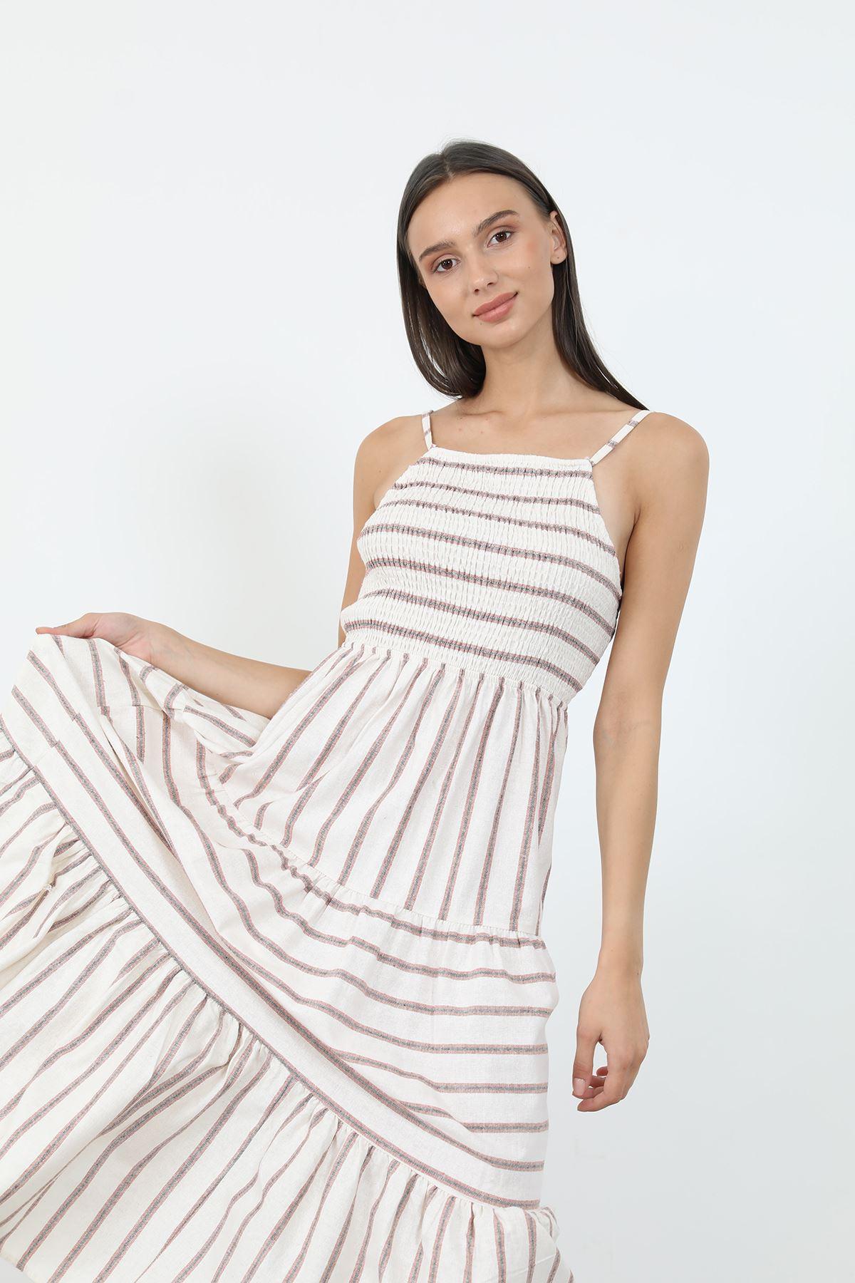 Çizgili Gipeli Elbise-Ekru