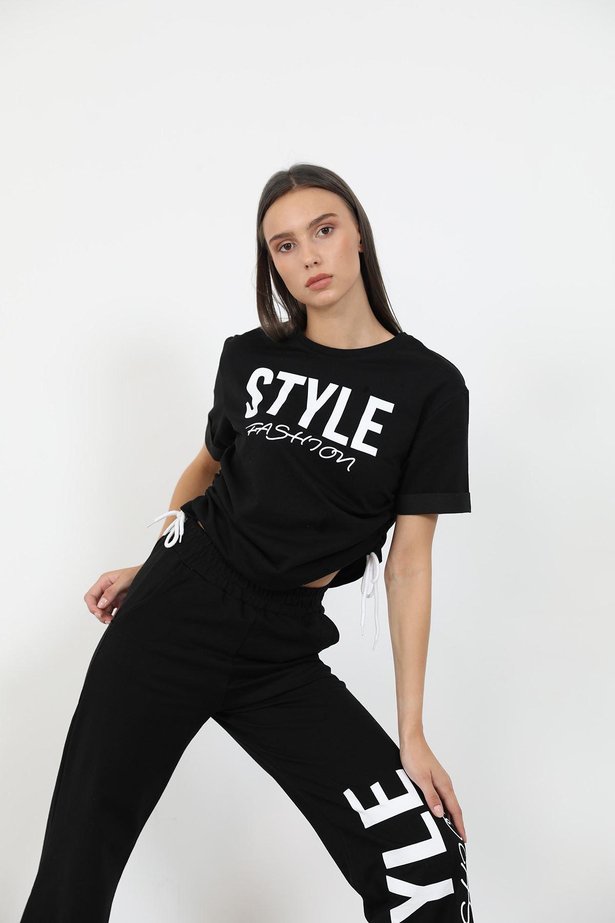 Style Baskılı Eşofman Takım-Siyah