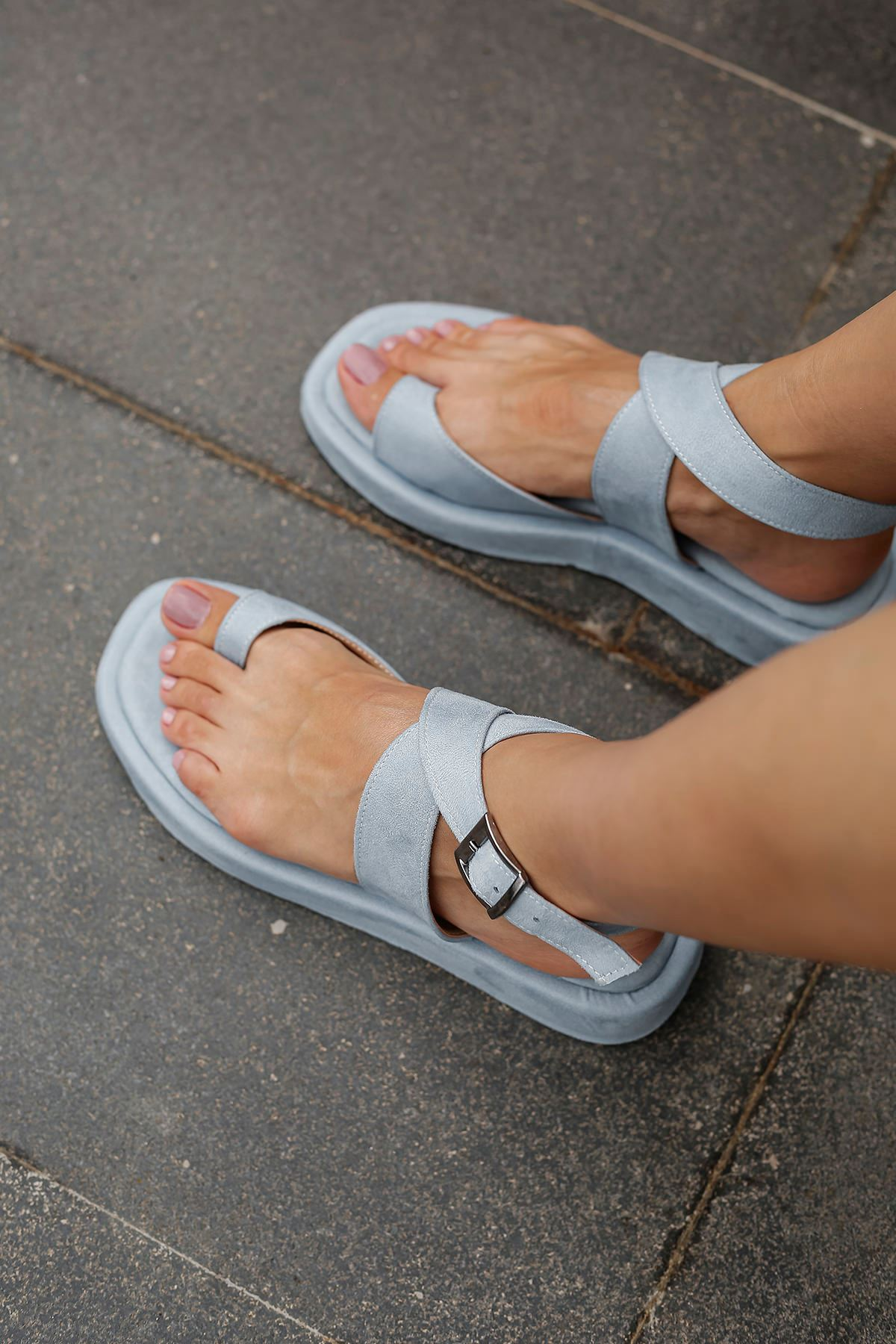 Süet Parmak Arası Sandalet-Bebemavi