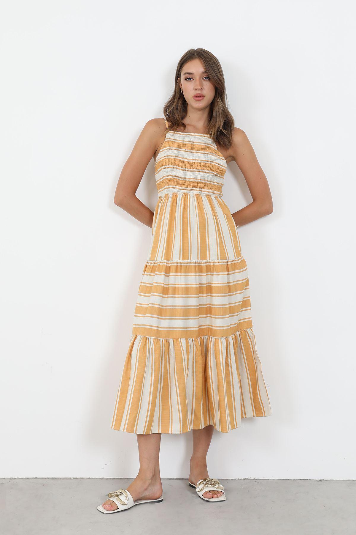 Çizgili Gipeli Elbise-Hardal