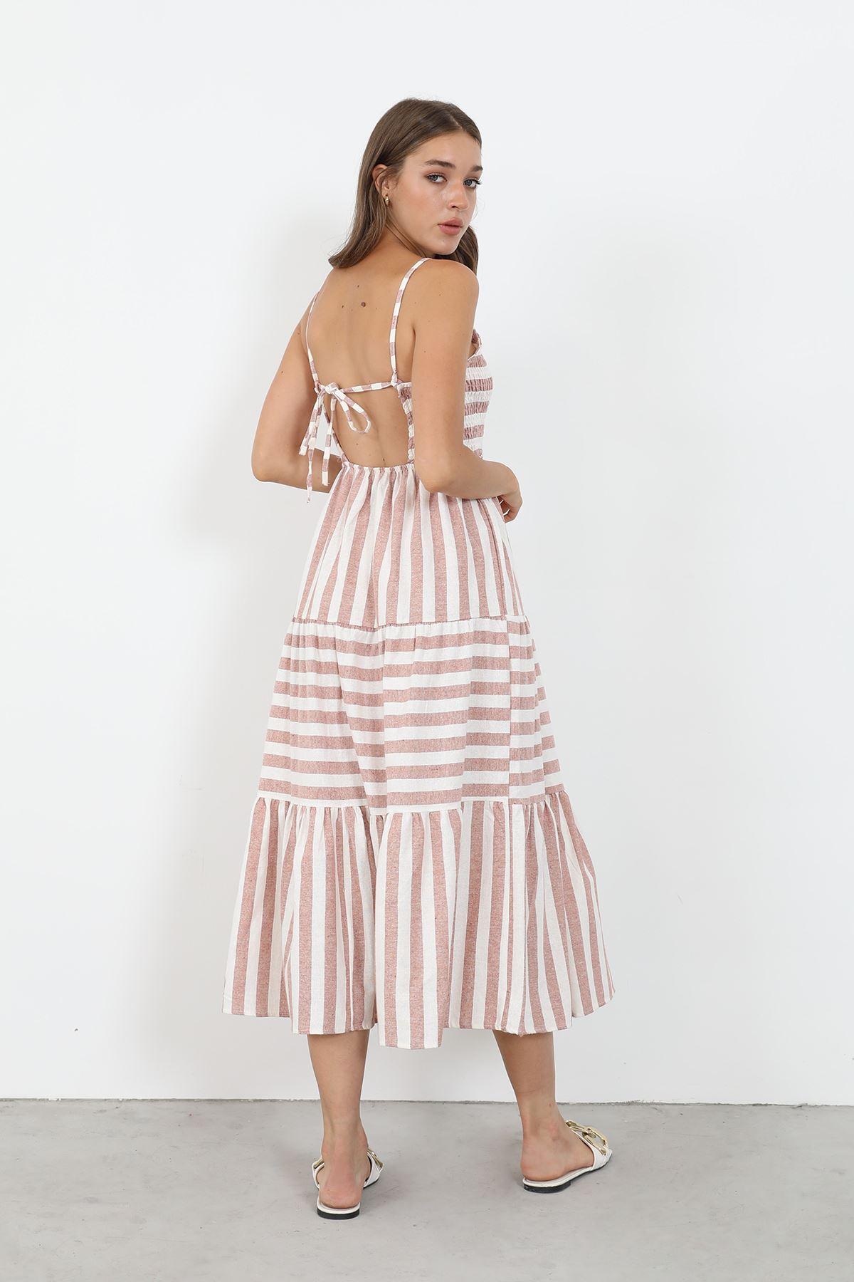 Çizgili Gipeli Elbise-Taba