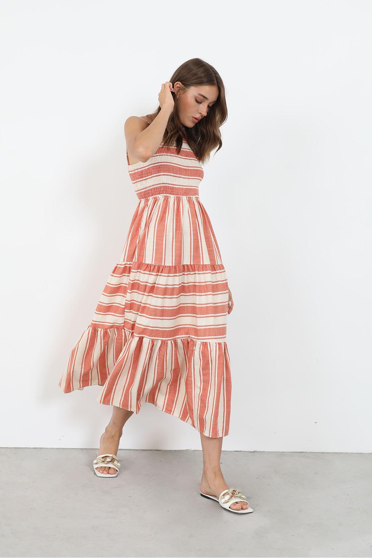 Çizgili Gipeli Elbise-Kiremit