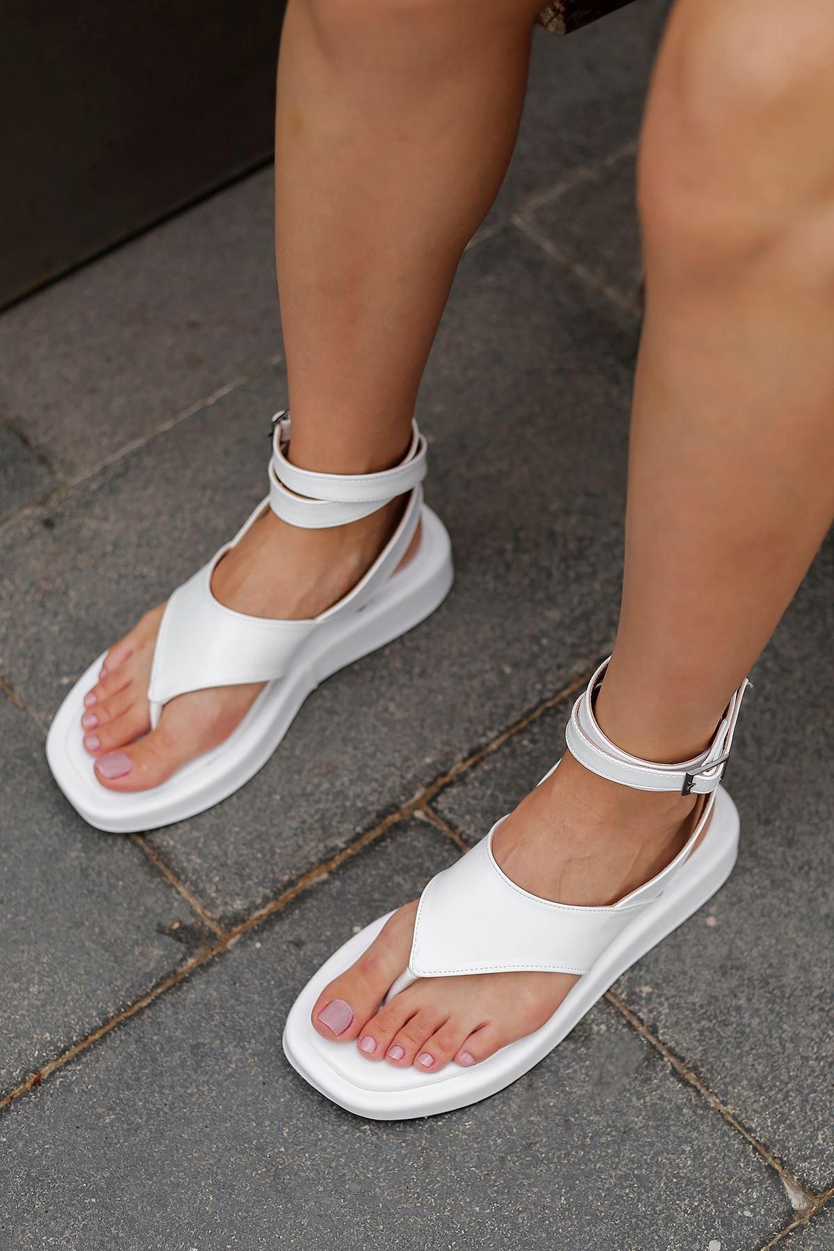 Parmak Arası Sandalet-Beyaz