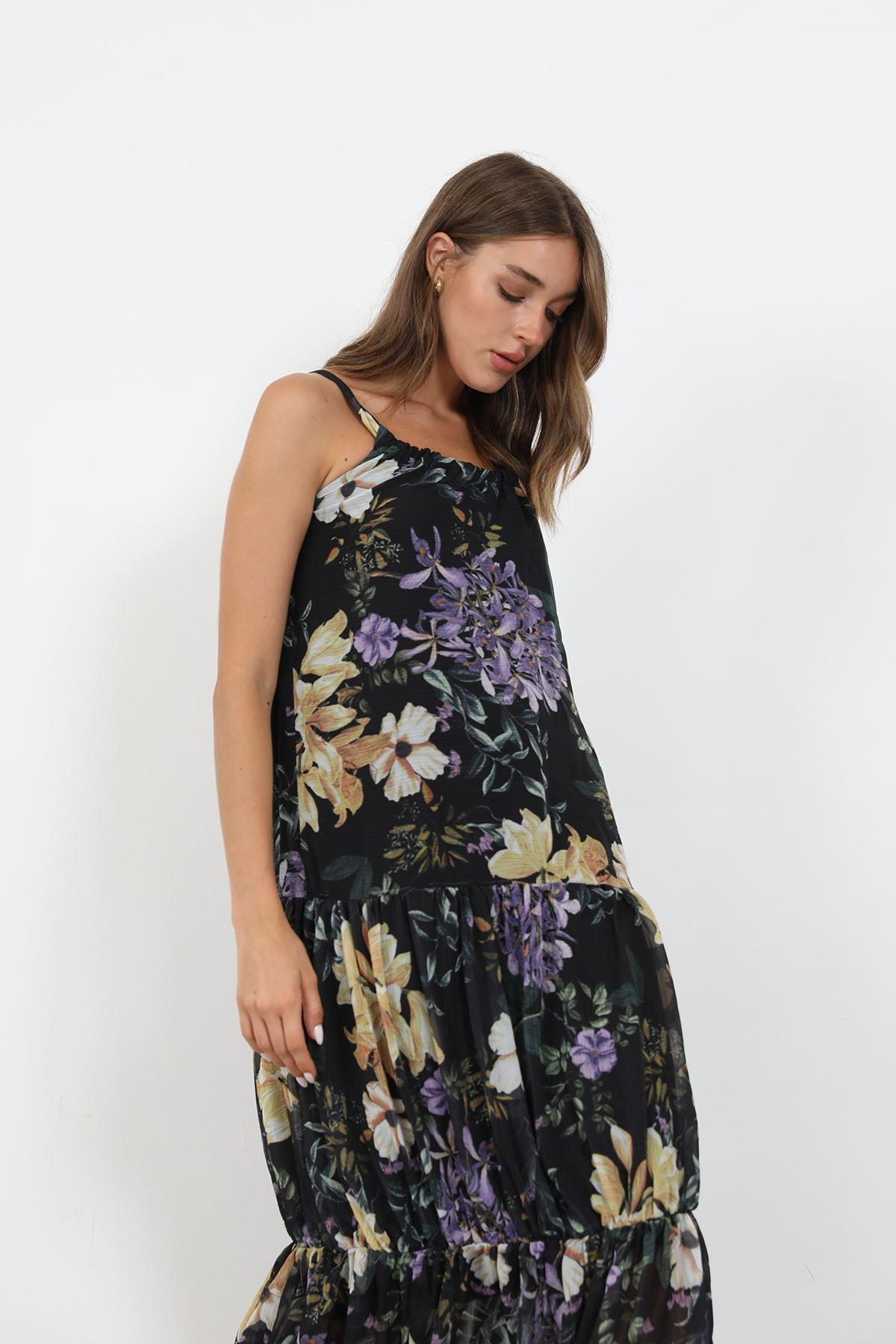 Askılı Şifon Elbise-Siyah