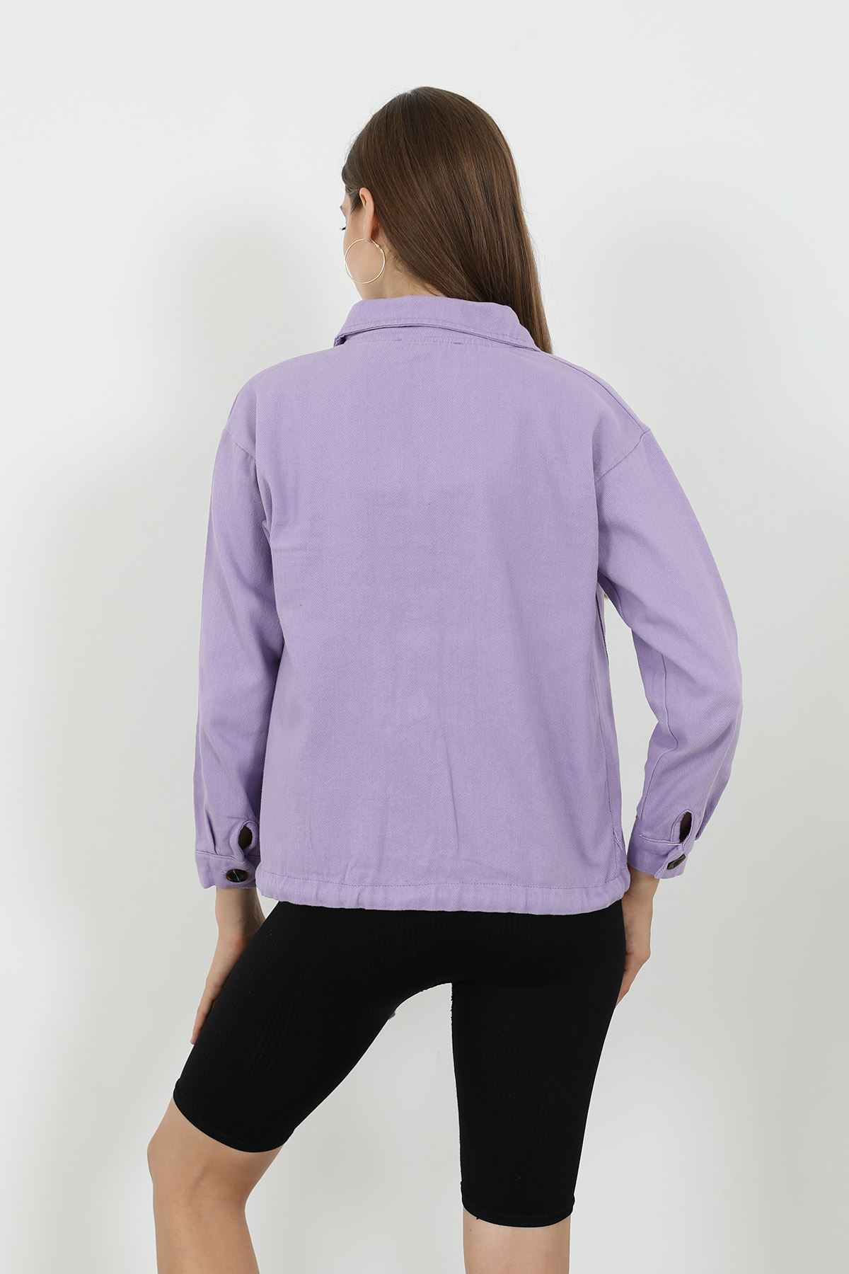 İki Cep Ceket-Lila