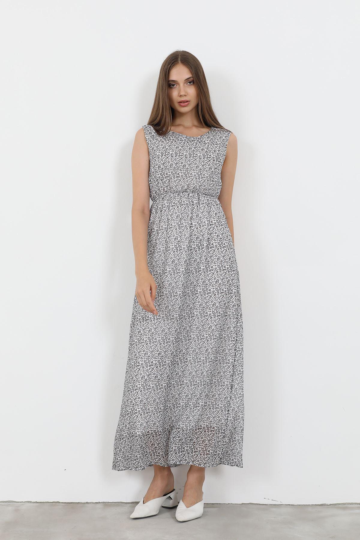 Sıfır Kol Şifon Elbise-Siyah