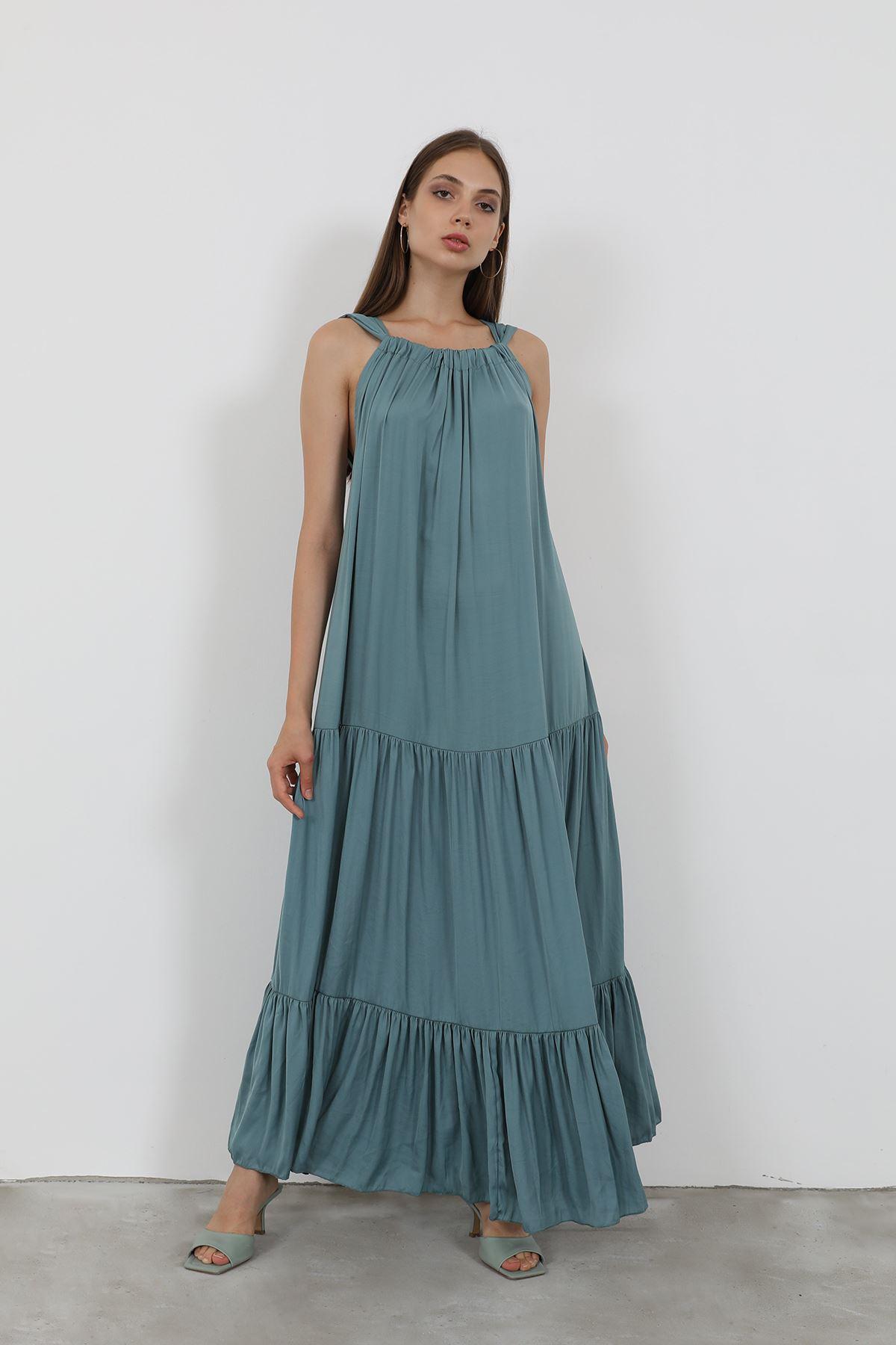 Düğme Detaylı Büzgülü Elbise-Mint
