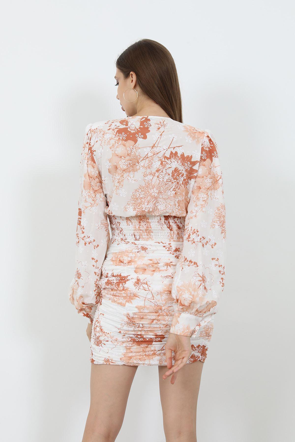Büzgülü Elbise-Taba