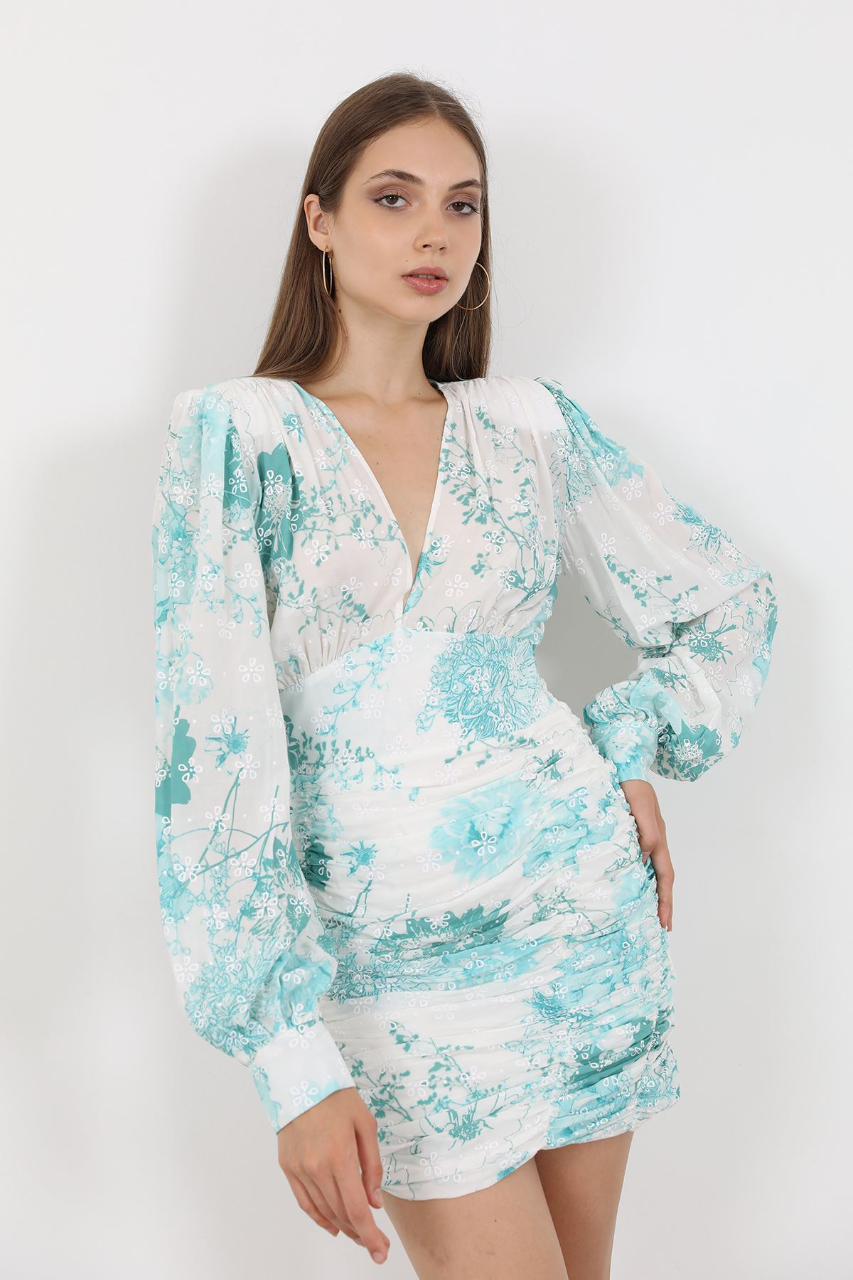 Büzgülü Elbise-Mint