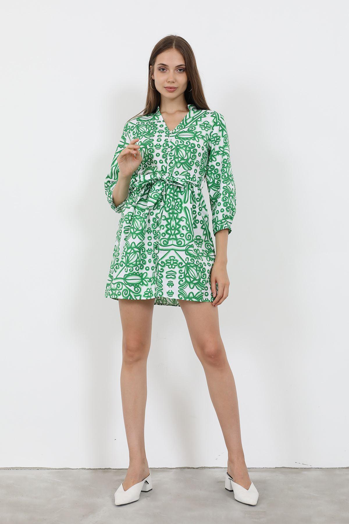 Desenli Elbise-Yeşil