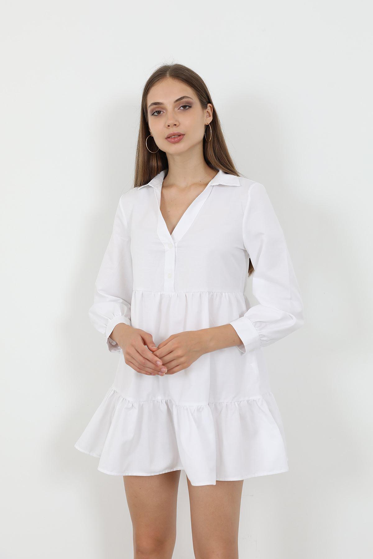 Gömlek Yaka Elbise-Beyaz