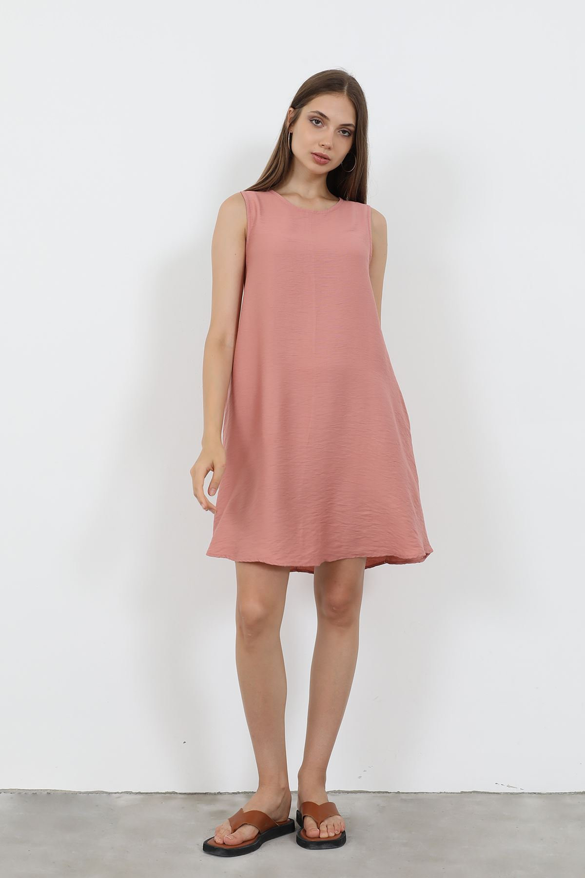 Sıfır Kol Elbise-Pudra