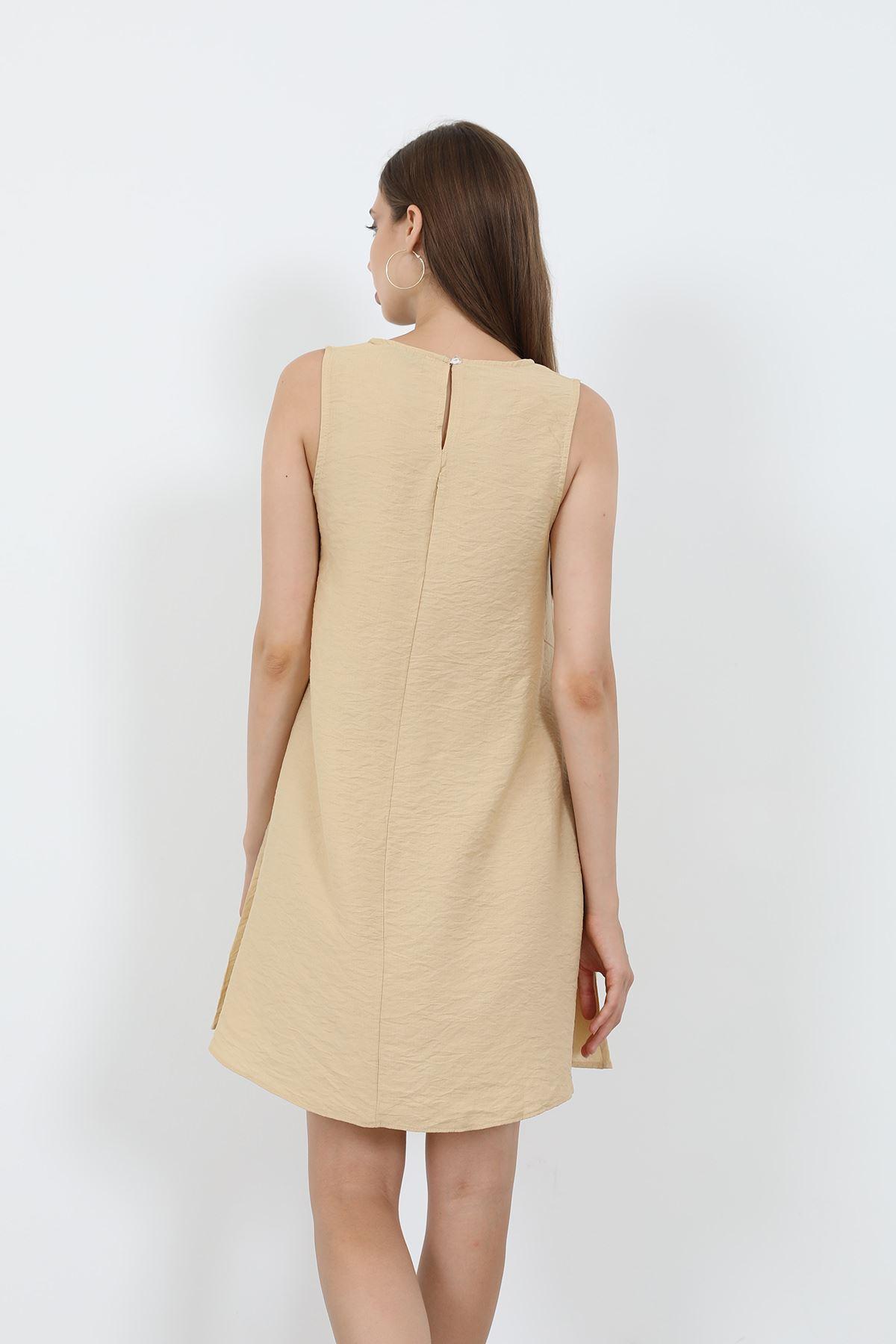 Sıfır Kol Elbise-Bej